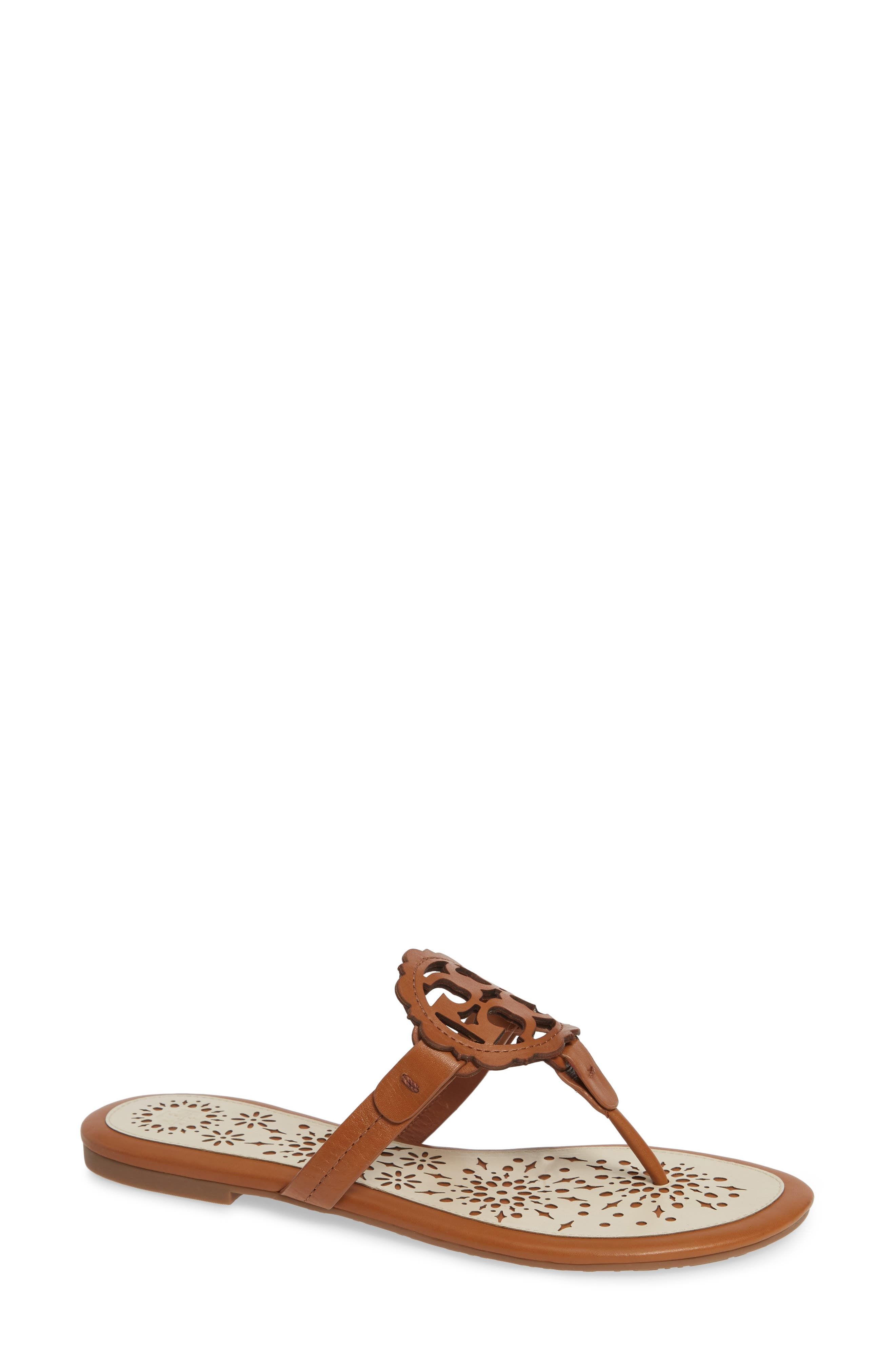 TORY BURCH, Miller Scalloped Medallion Sandal, Main thumbnail 1, color, TAN/ NEW CREAM