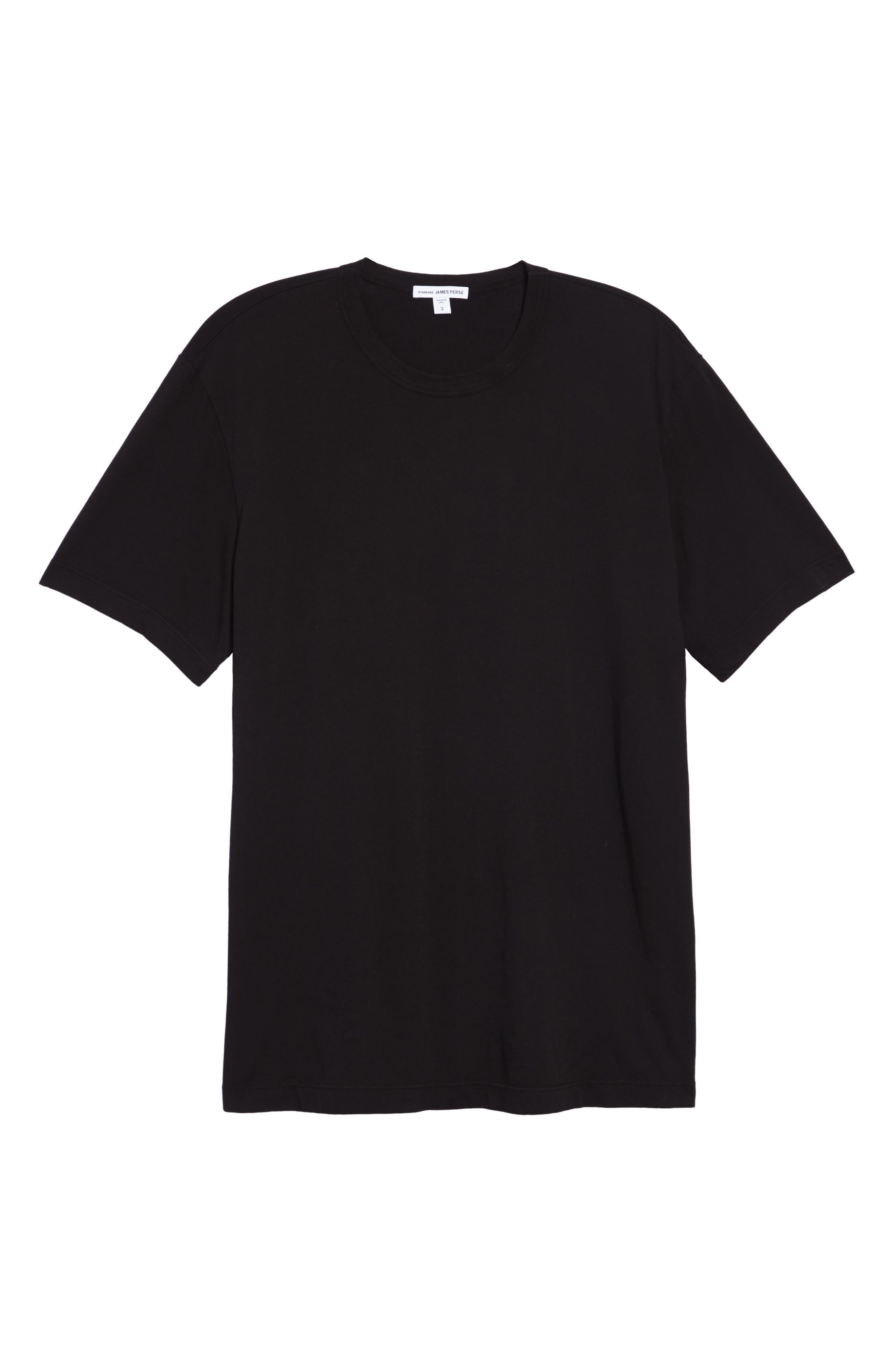 JAMES PERSE, Crewneck Jersey T-Shirt, Main thumbnail 1, color, BLACK