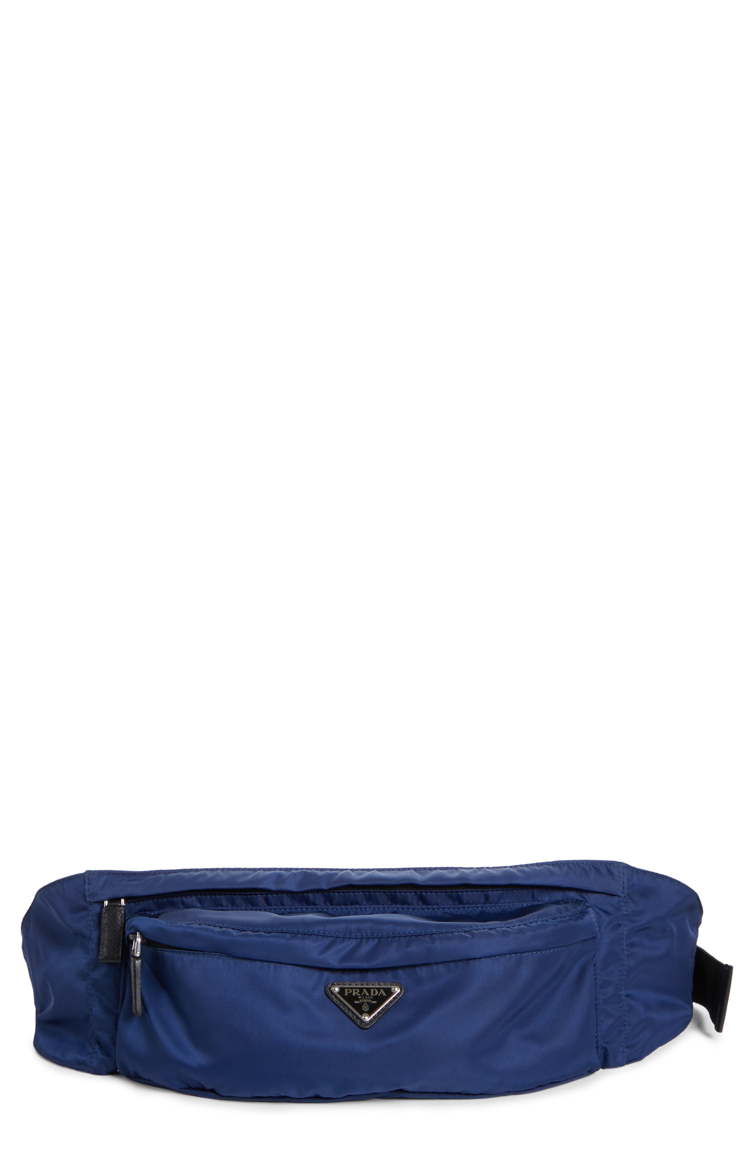 PRADA Tessuto Waist Pack, Main, color, ROYAL