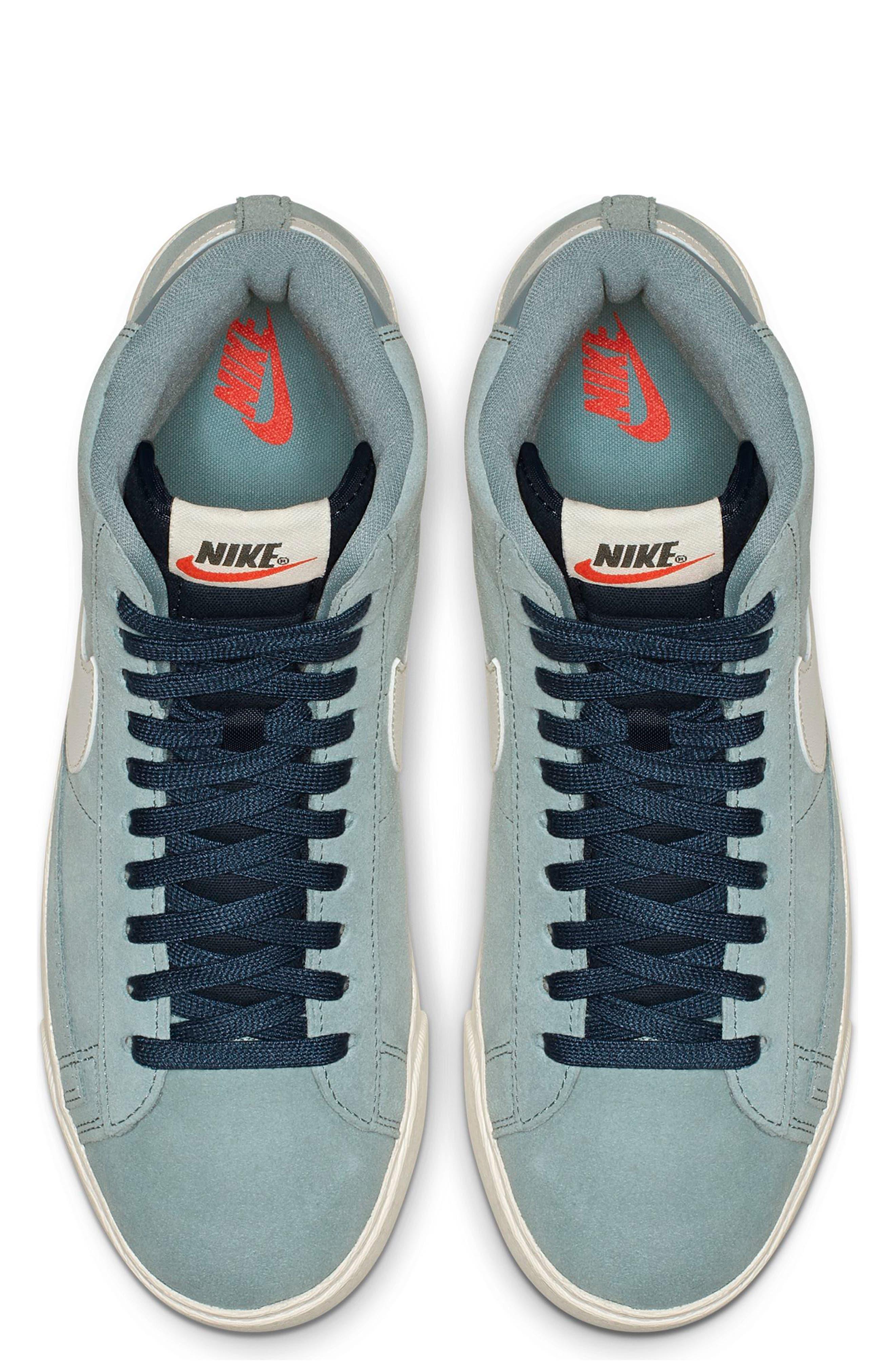 NIKE, Blazer Mid Vintage Sneaker, Alternate thumbnail 4, color, AVIATOR GREY/ SAIL/ BLUE