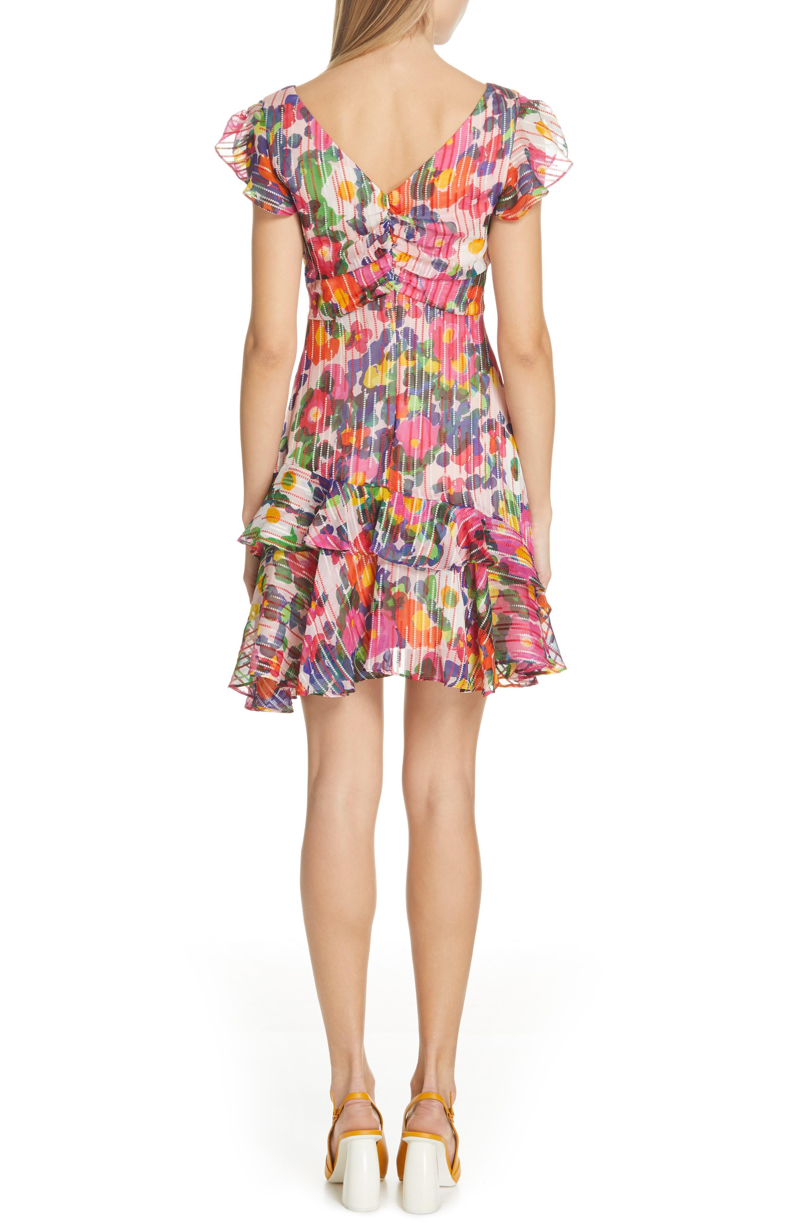 SALONI, Catia Floral Print Silk Blend Minidress, Alternate thumbnail 2, color, PINK ROSETTE