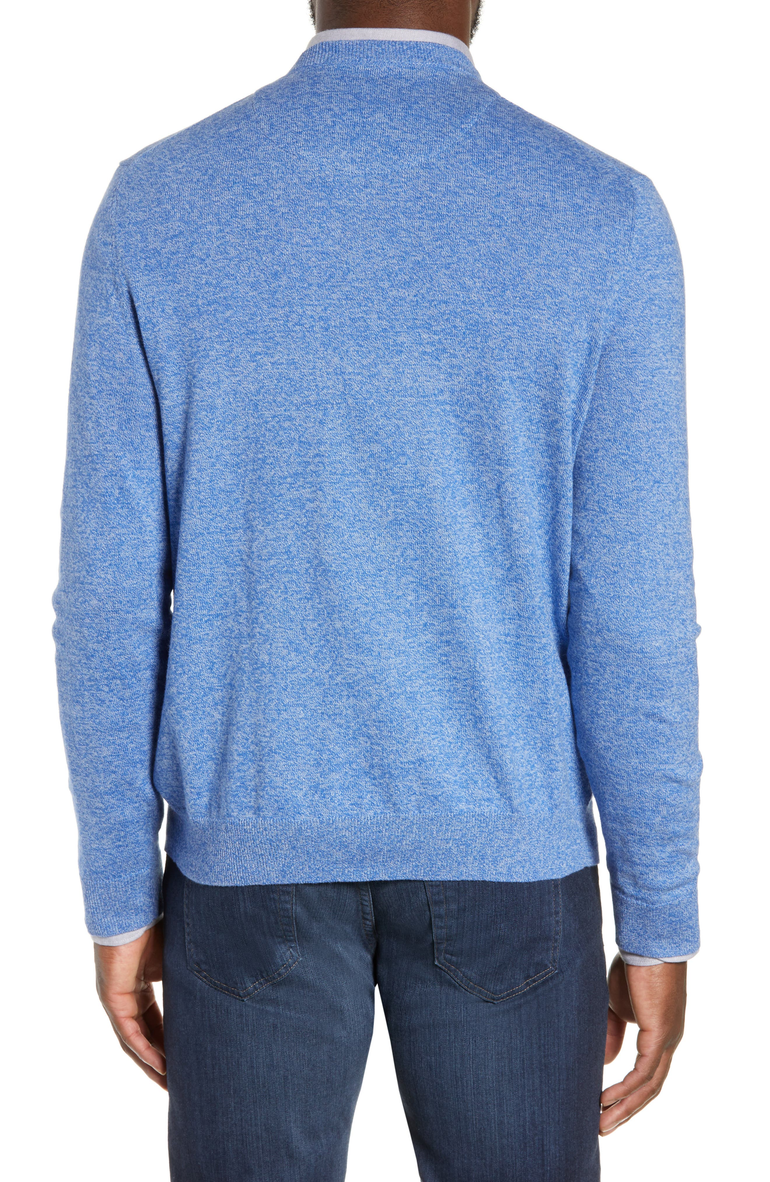 NORDSTROM MEN'S SHOP, Cotton & Cashmere V-Neck Sweater, Alternate thumbnail 2, color, BLUE CAMP MARL