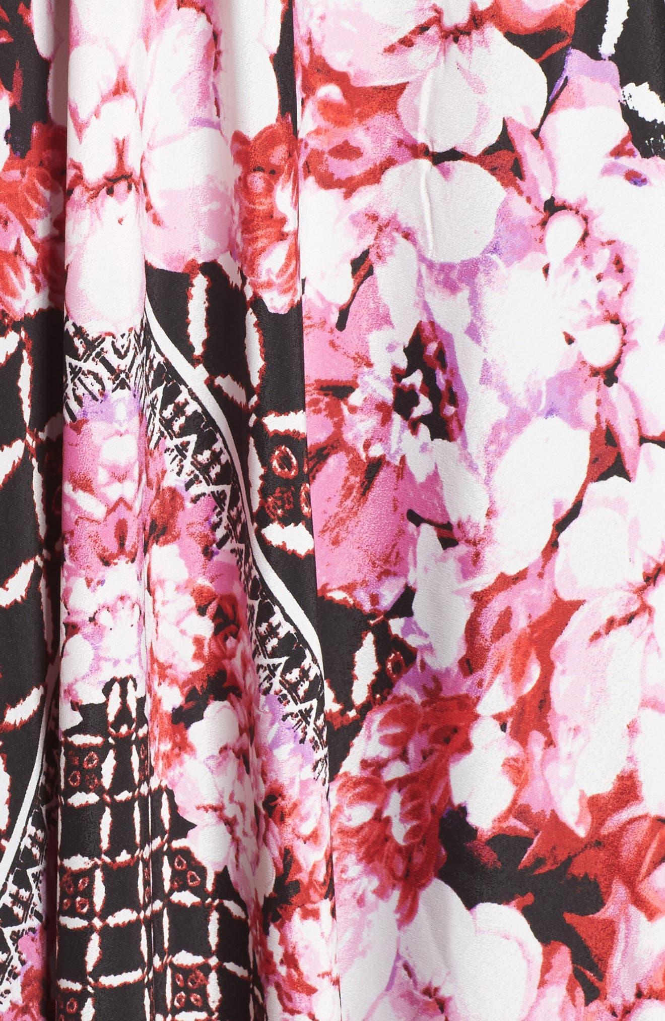 ELIZA J, Scarf Print Jersey & Crêpe de Chine Maxi Dress, Alternate thumbnail 5, color, 001