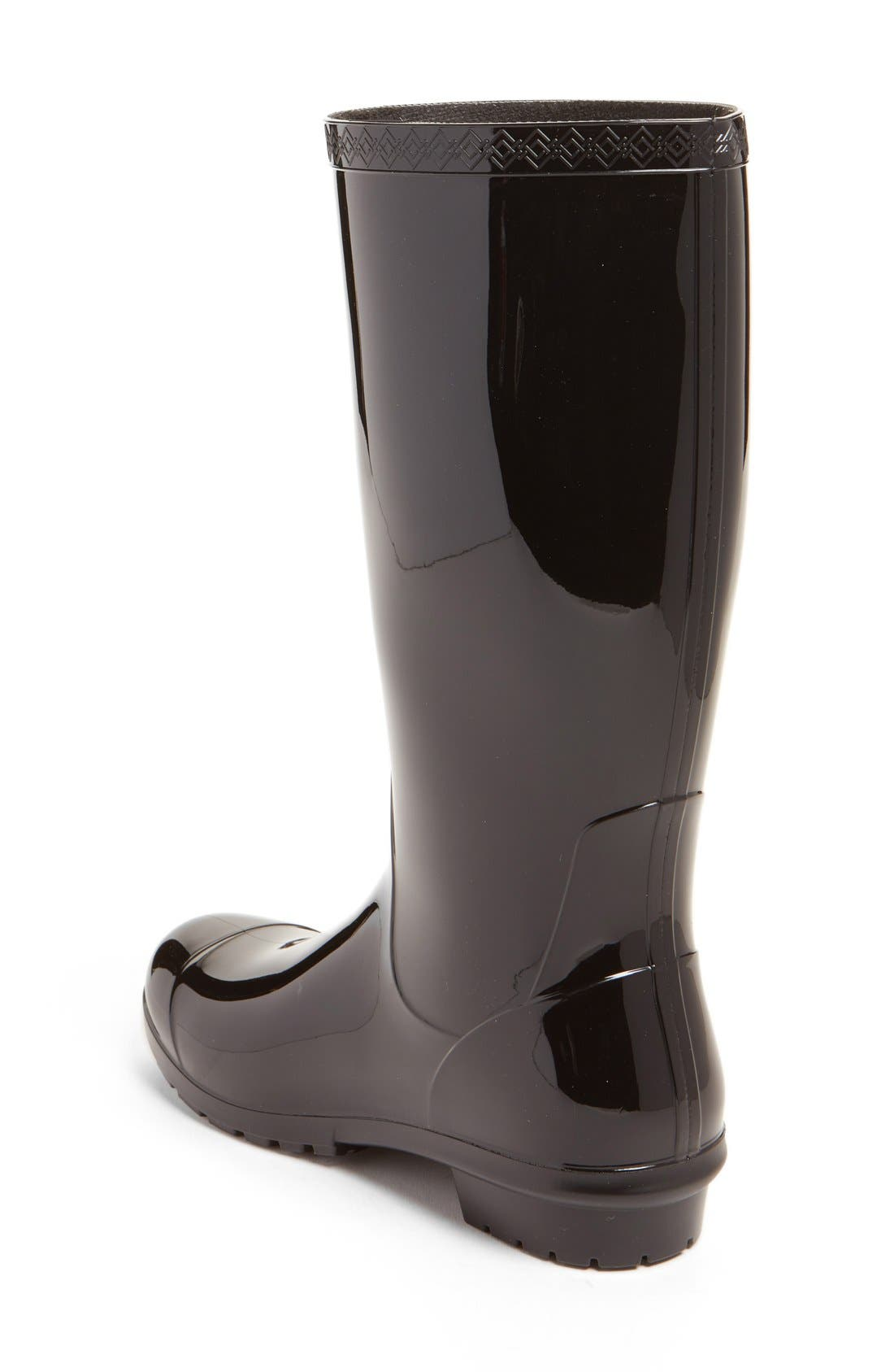 UGG<SUP>®</SUP>, Shaye Rain Boot, Alternate thumbnail 2, color, BLACK RUBBER