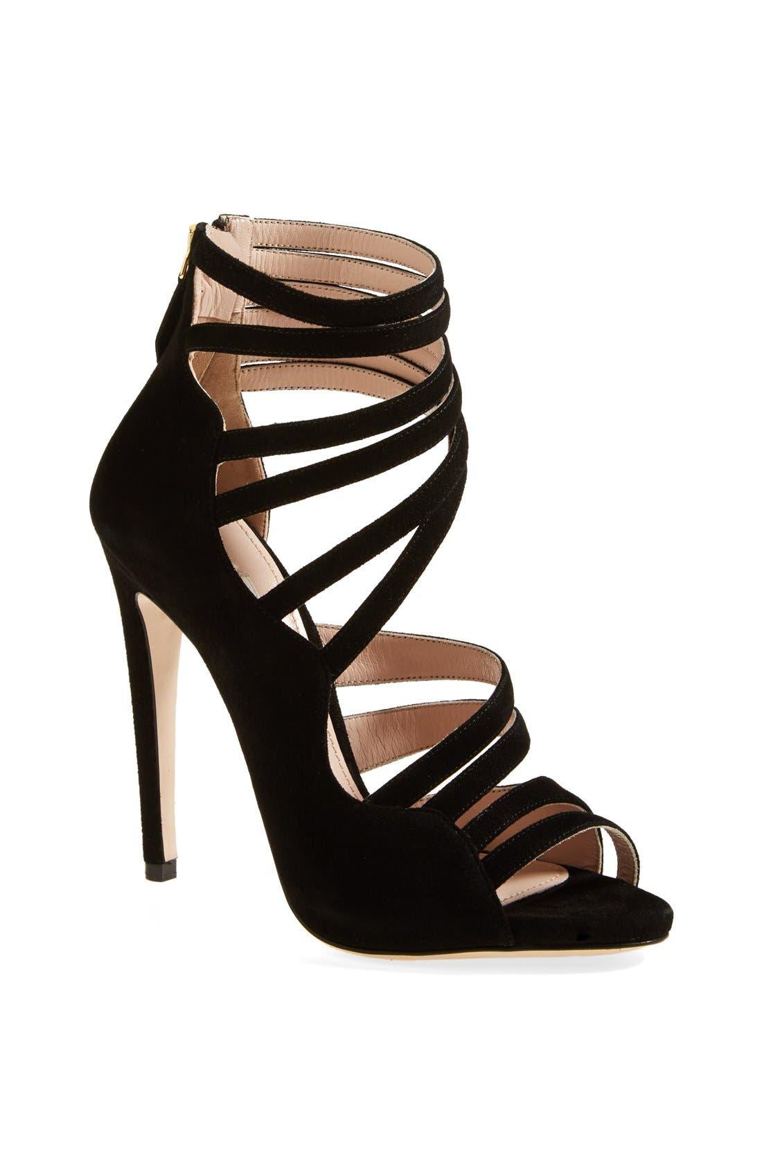 MIU MIU Asymmetrical Strappy Sandal, Main, color, 001