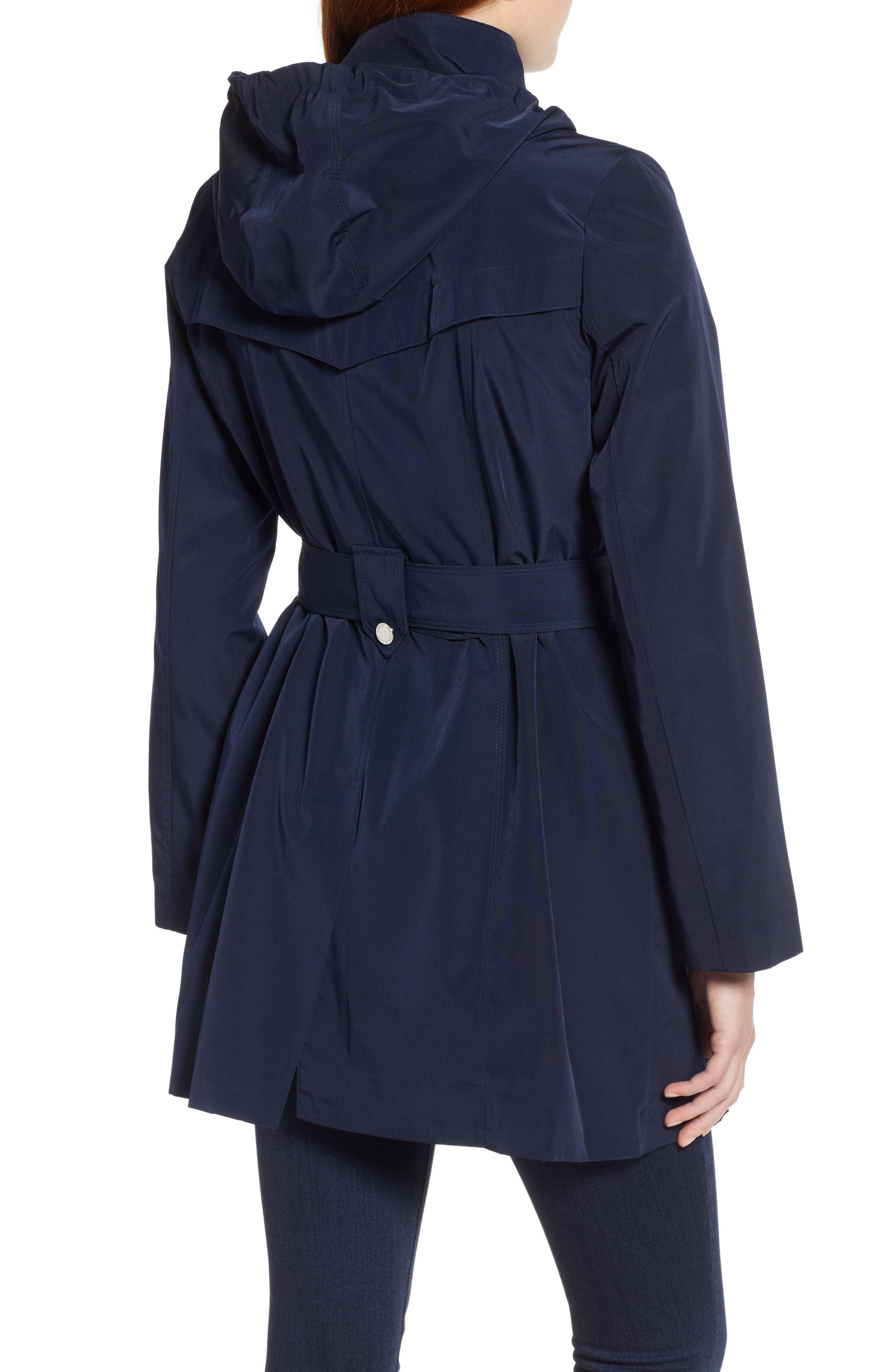 LONDON FOG, Hooded Trench Coat, Alternate thumbnail 2, color, NAVY