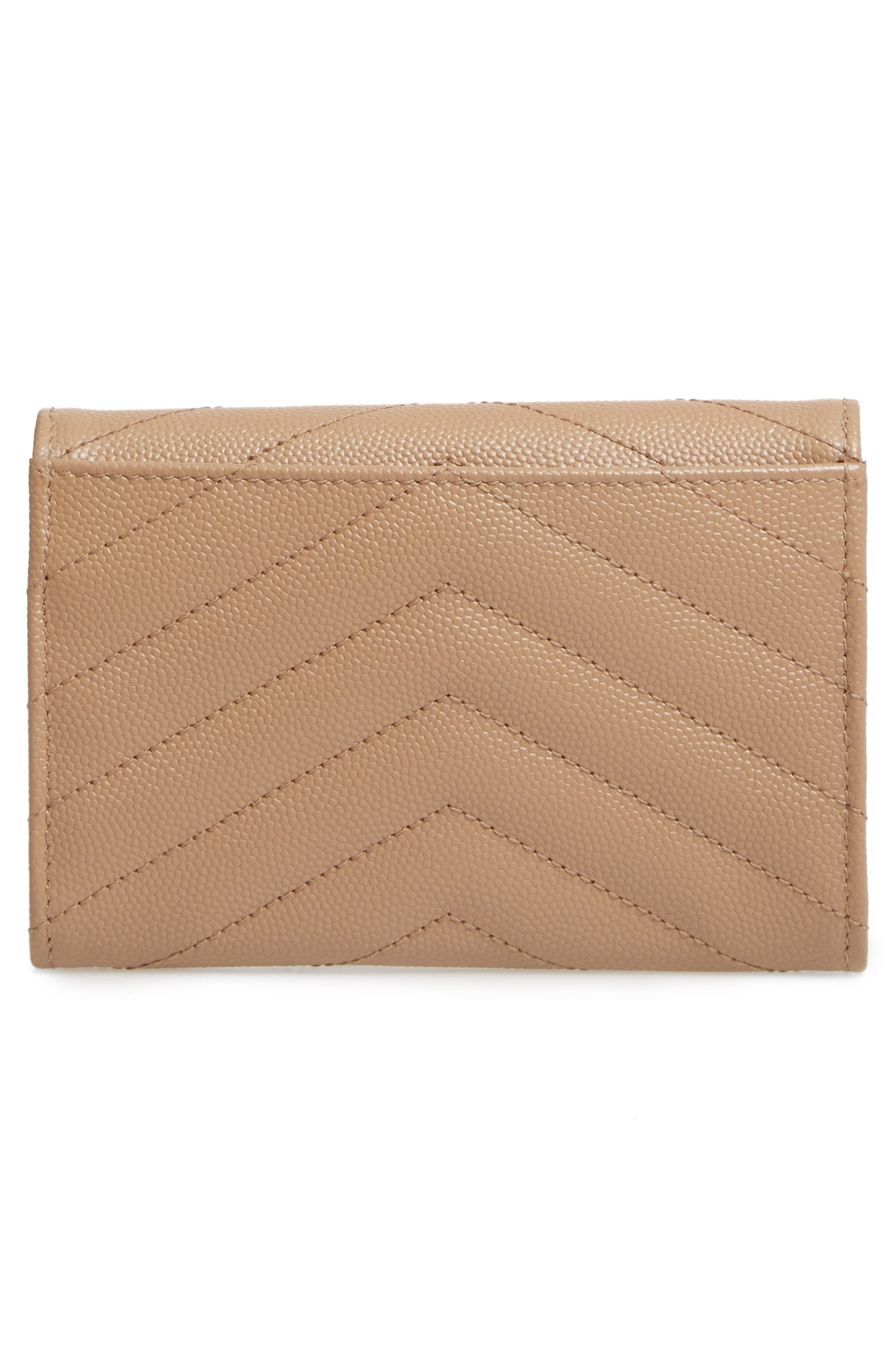 SAINT LAURENT, 'Monogram' Quilted Leather French Wallet, Alternate thumbnail 4, color, 253