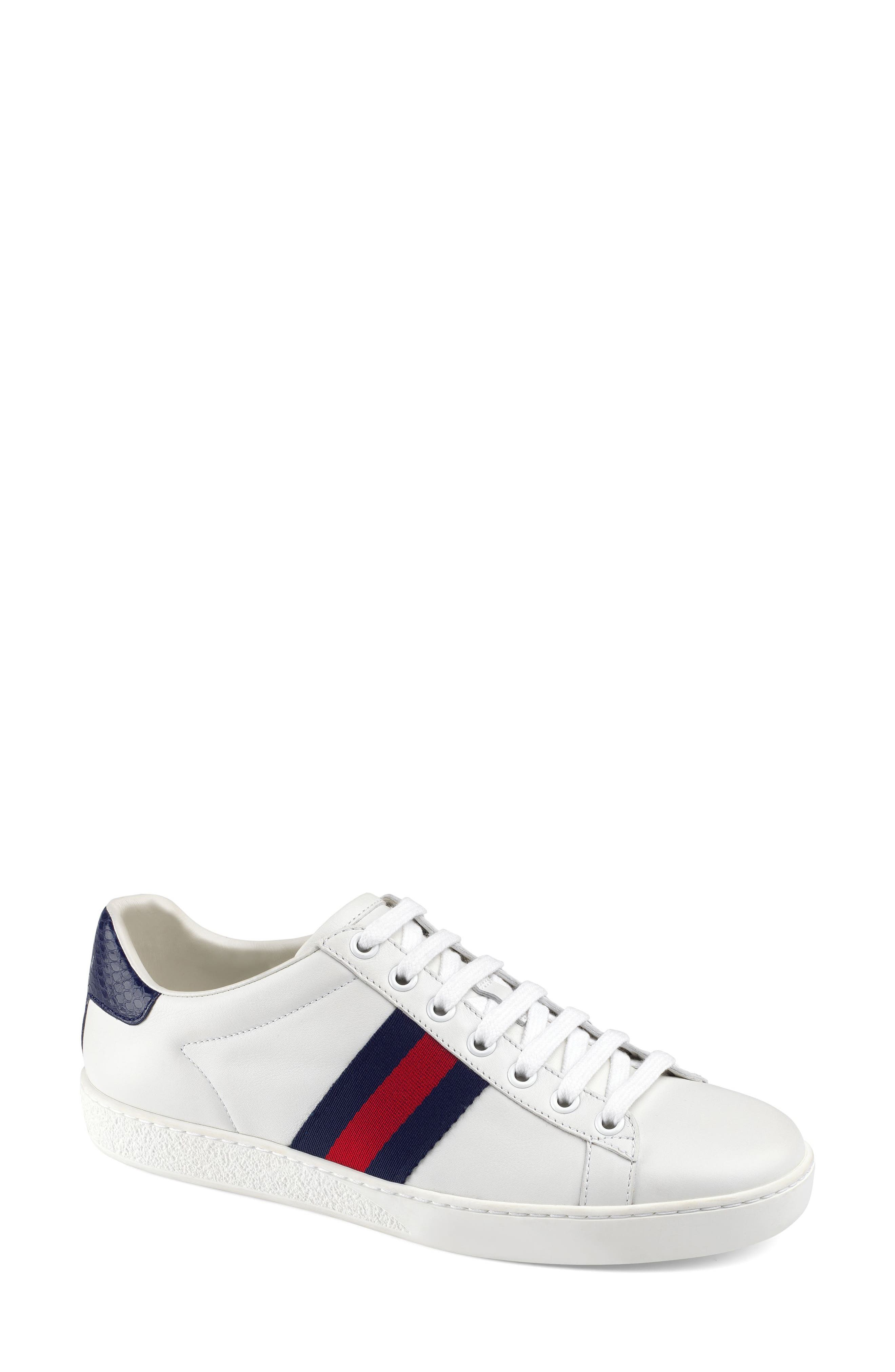 GUCCI, 'New Ace' Sneaker, Main thumbnail 1, color, WHITE/ BLUE