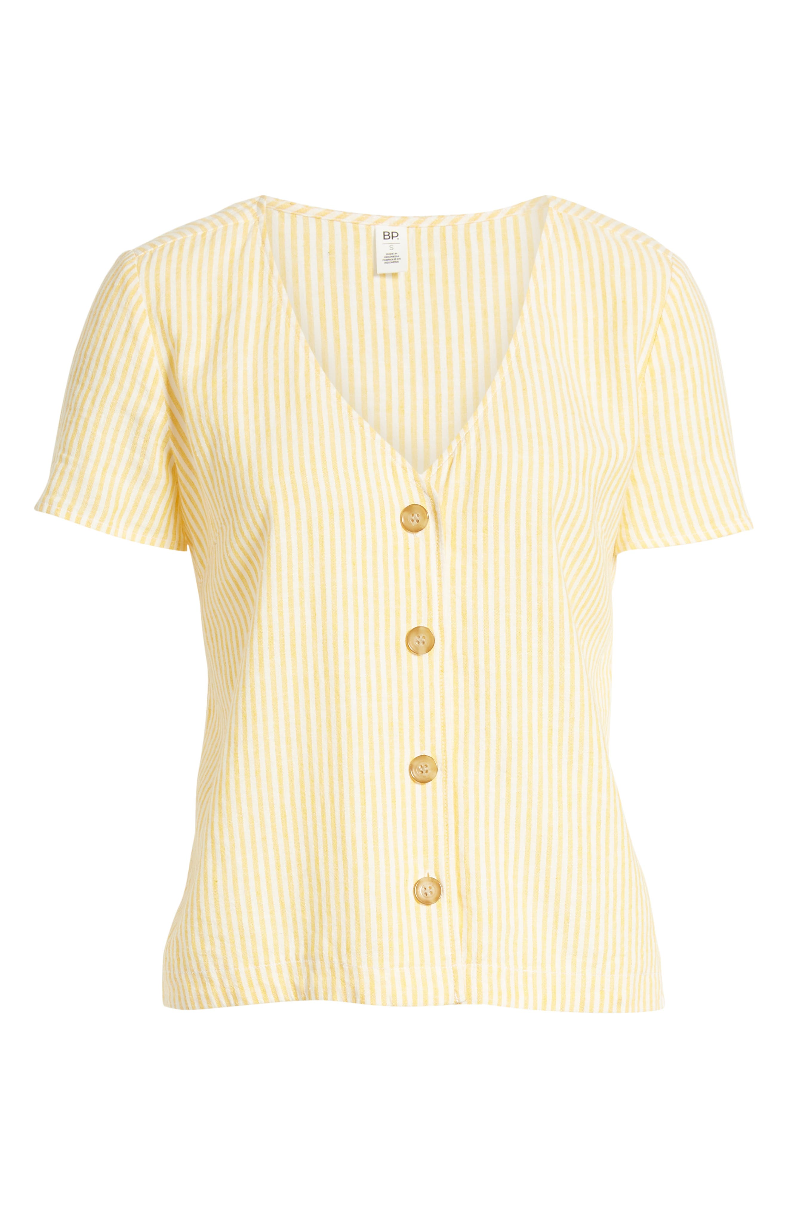 BP., Button Front Linen Blend Top, Alternate thumbnail 7, color, YELLOW WHIP MARA STRIPE