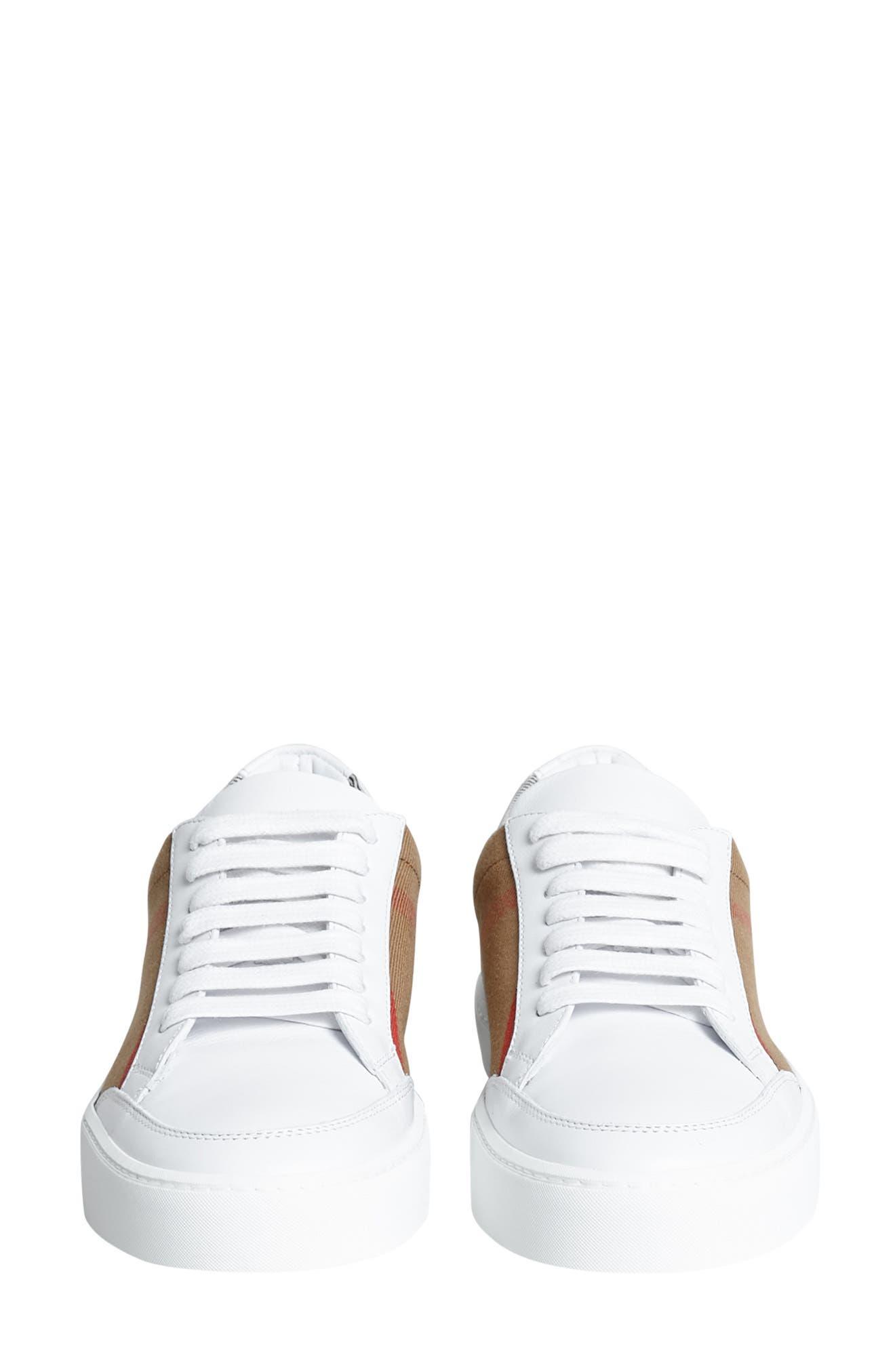 BURBERRY, Salmond Sneaker, Alternate thumbnail 9, color, WHITE