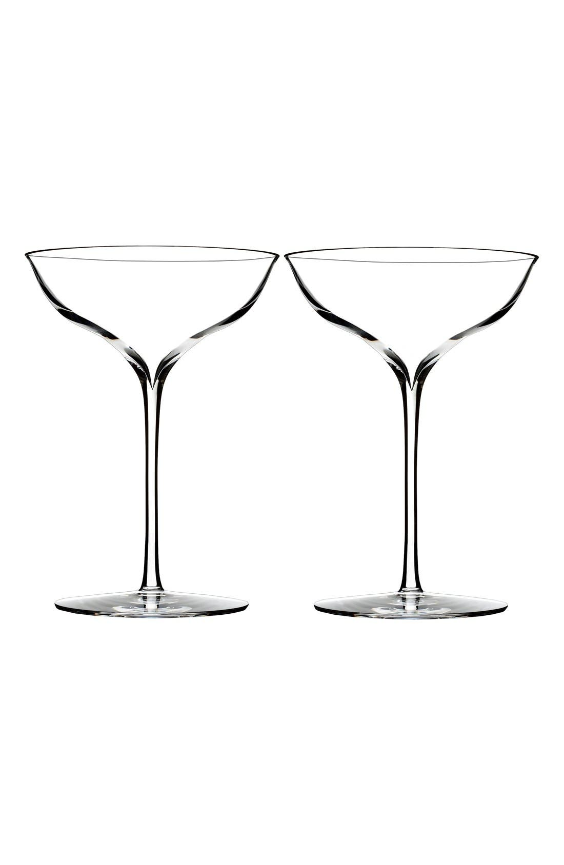 WATERFORD, 'Elegance' Fine Crystal Champagne Coupe Toasting Glasses, Main thumbnail 1, color, CLEAR
