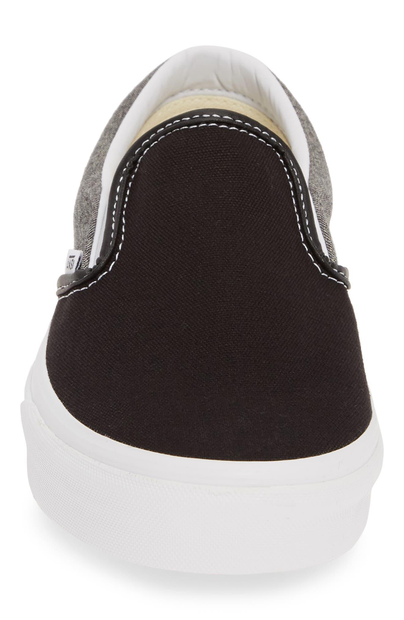 VANS, 'Classic' Slip-On Sneaker, Alternate thumbnail 4, color, CANVAS BLACK/ WHITE CHAMBRAY