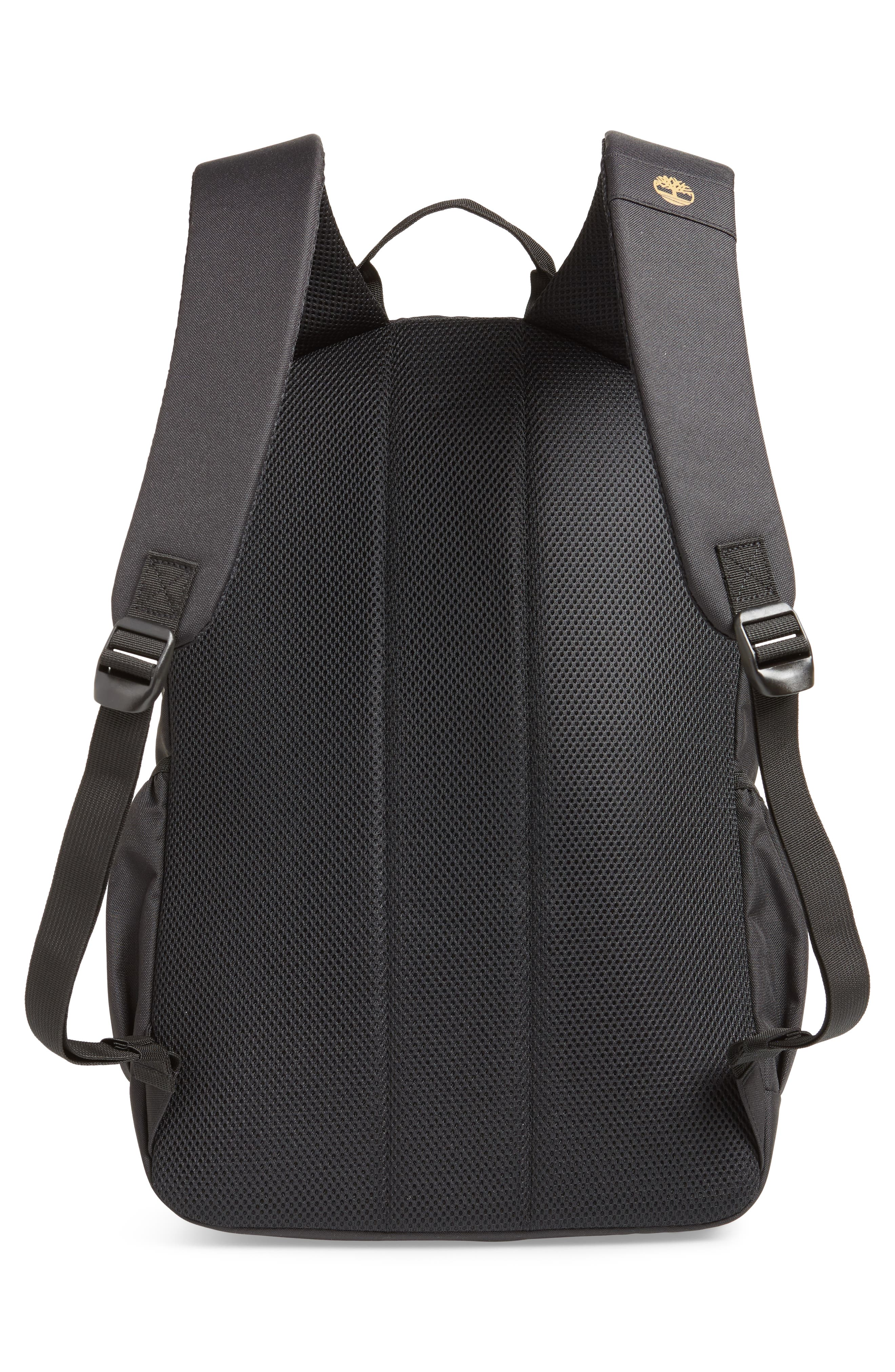 TIMBERLAND, Logo Graphic Water Resistant Backpack, Alternate thumbnail 3, color, BLACK