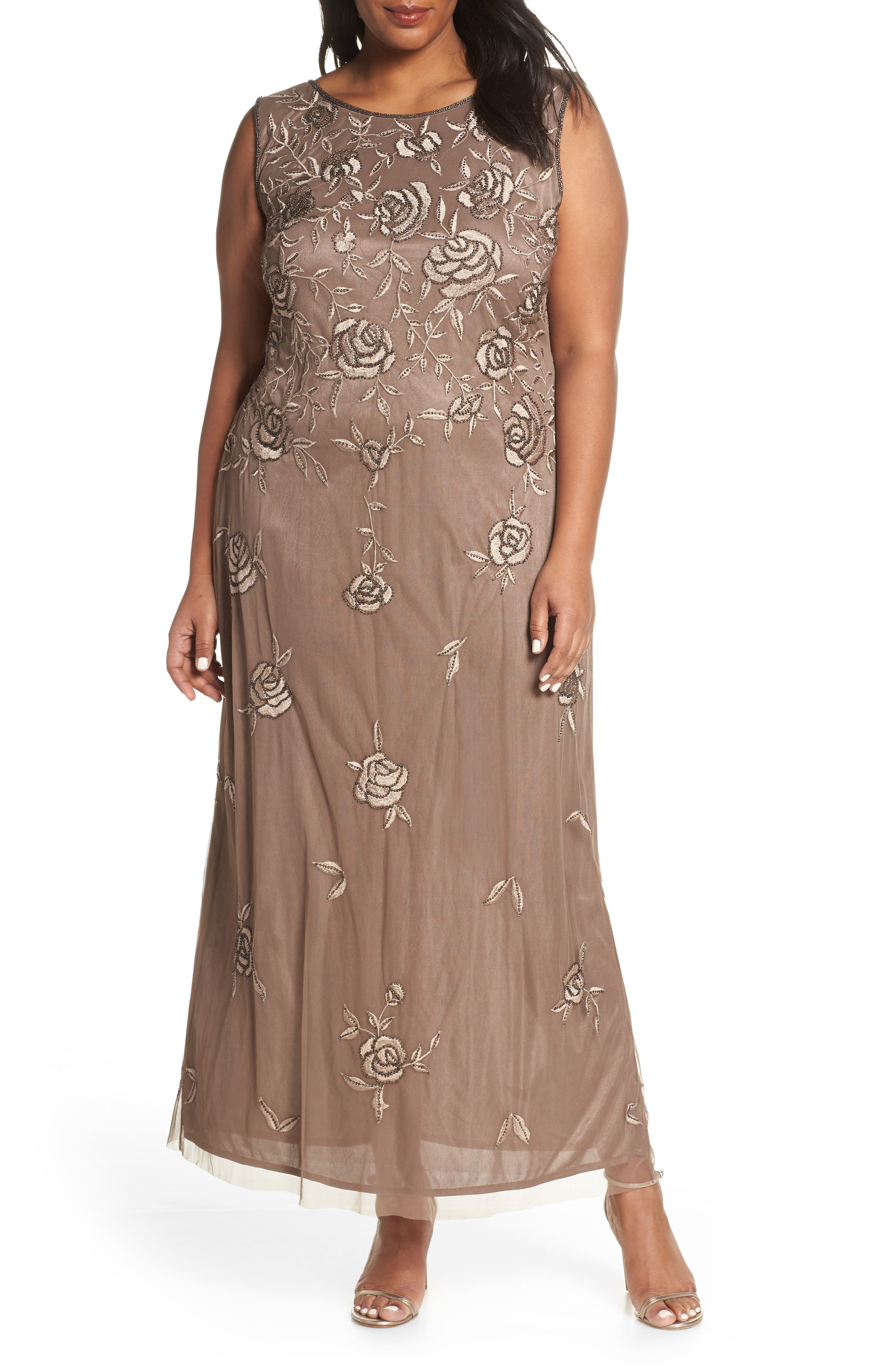 Plus Size Pisarro Nights Rose Embroidered & Beaded Evening Dress, Brown