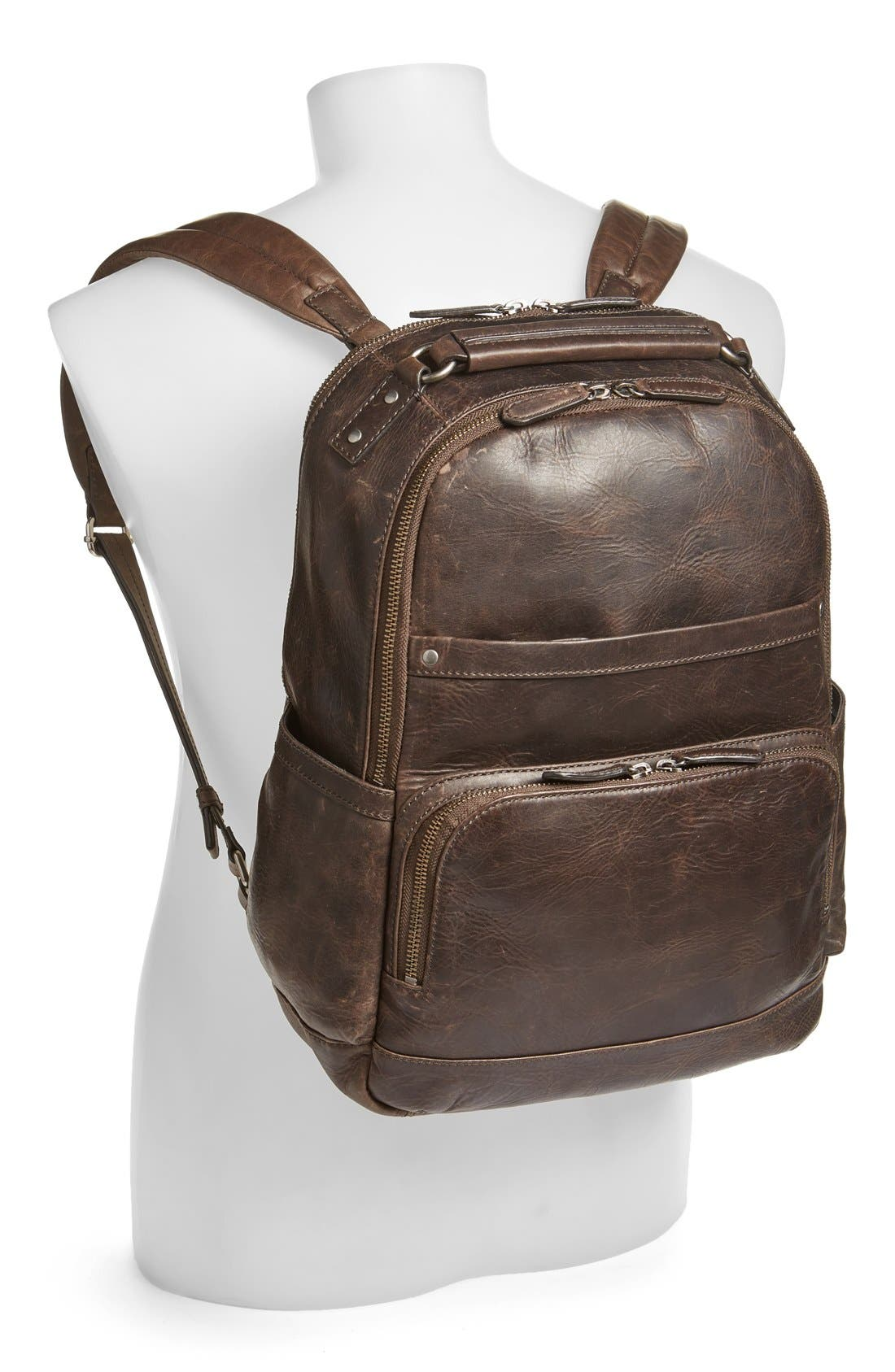 FRYE, 'Logan' Leather Backpack, Alternate thumbnail 8, color, SLATE