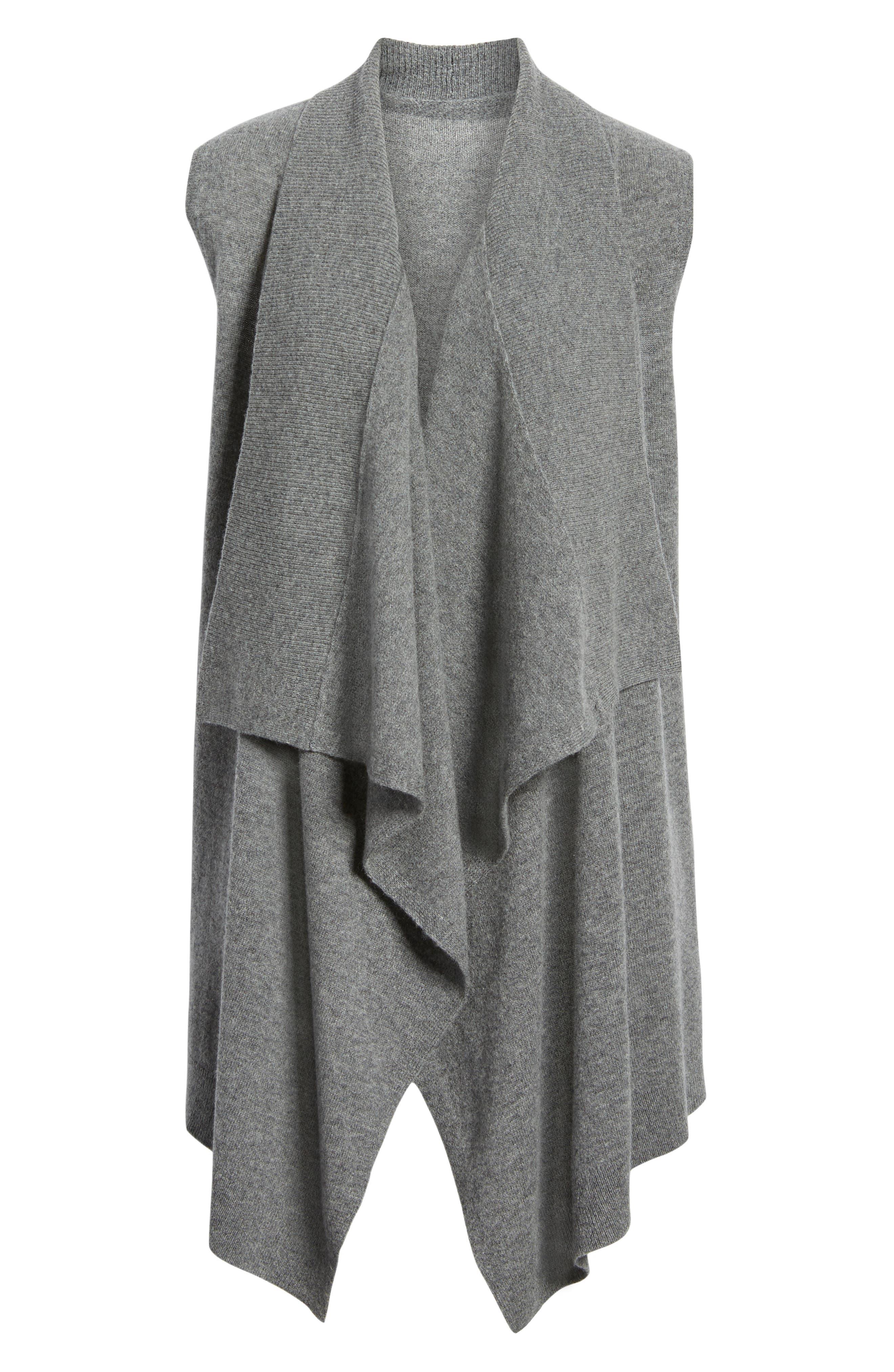 Petite Halogen Wool & Cashmere Drape Front Sweater Vest, Grey