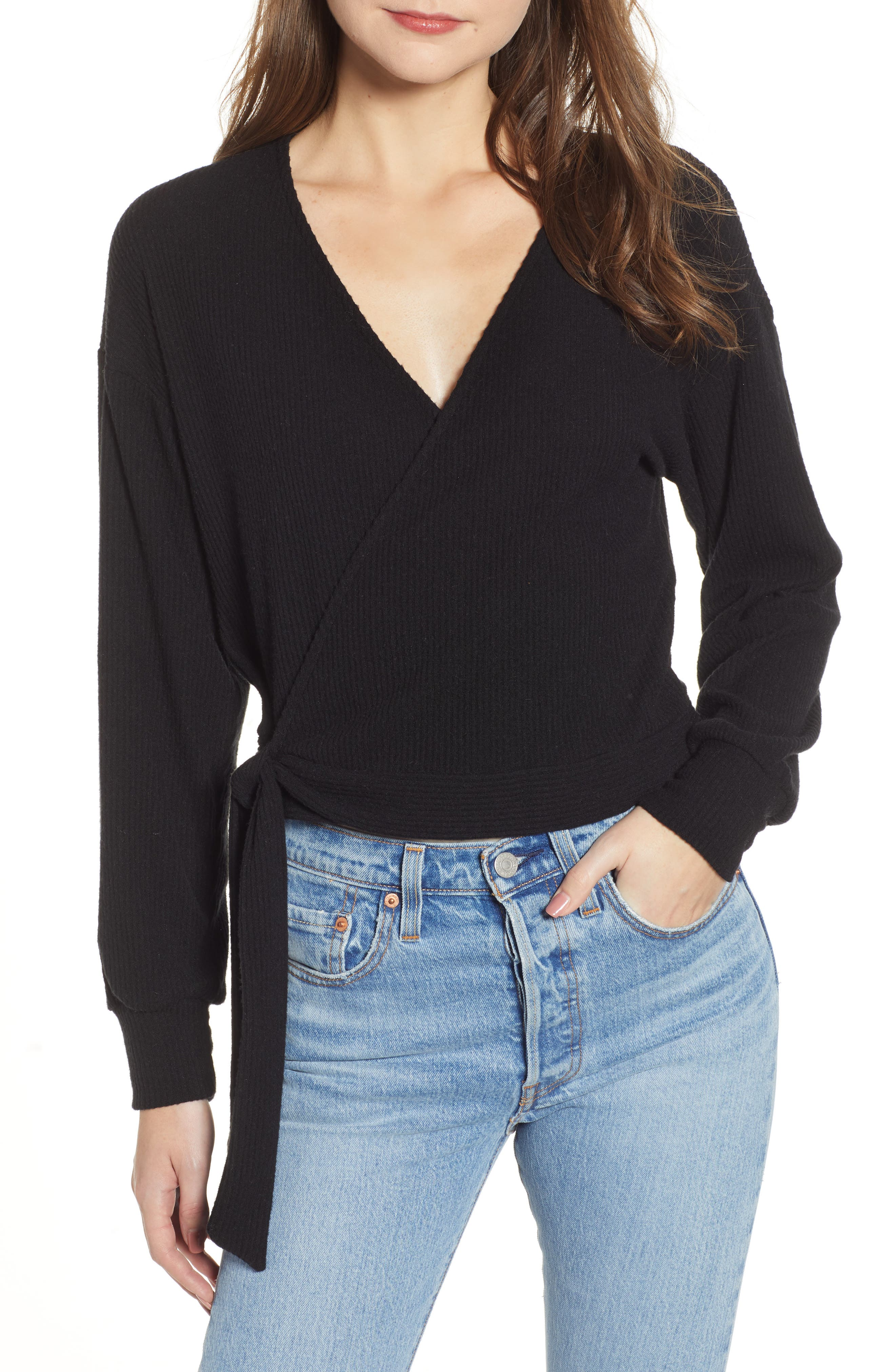 PROJECT SOCIAL T Ramone Ribbed Top, Main, color, BLACK