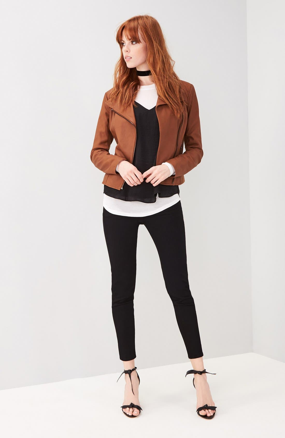 ANDREW MARC, Marc New York by Andrew Marc Felix Stand Collar Leather Jacket, Alternate thumbnail 9, color, WHISKEY