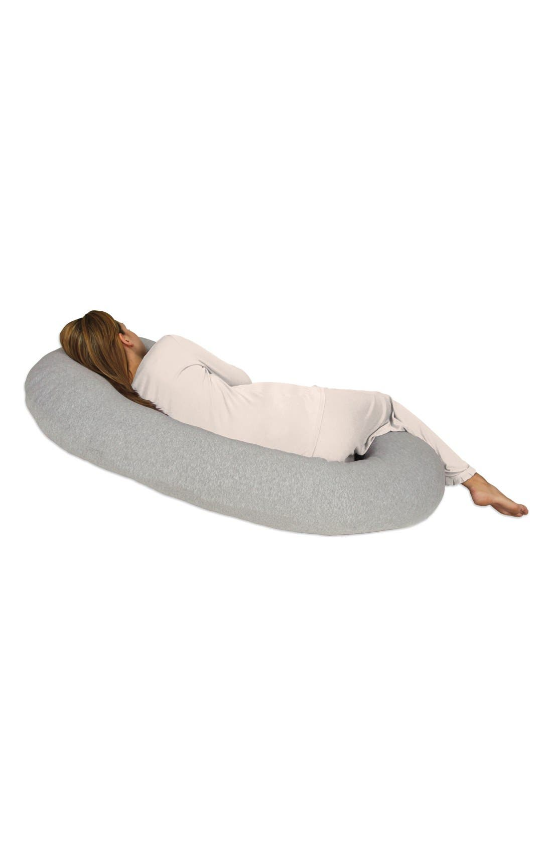 LEACHCO, Snoogle Chic Full Body Pregnancy Support Pillow with Jersey Cover, Alternate thumbnail 4, color, HEATHER GREY