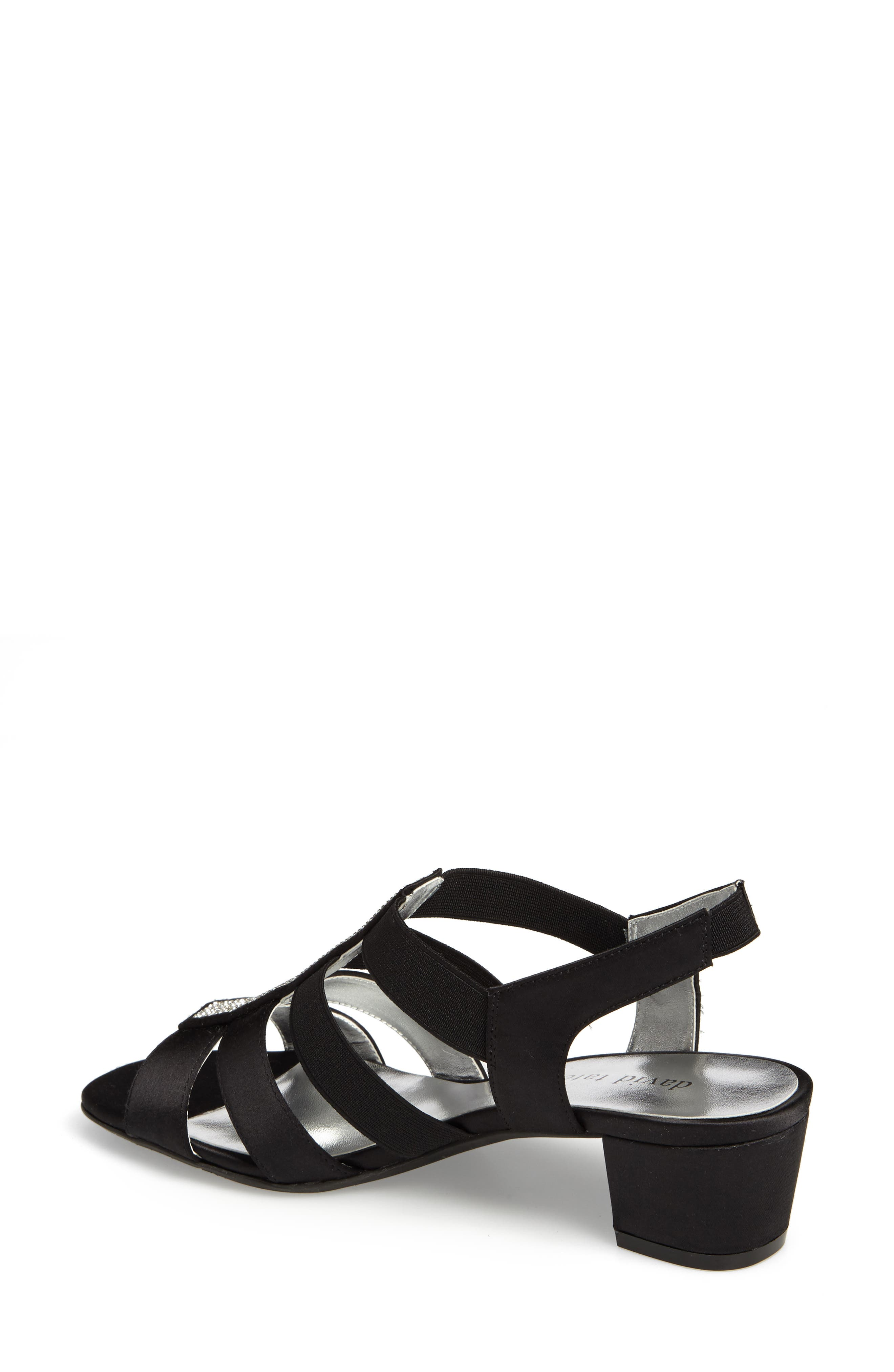 DAVID TATE, Eve Embellished Sandal, Alternate thumbnail 2, color, BLACK FABRIC