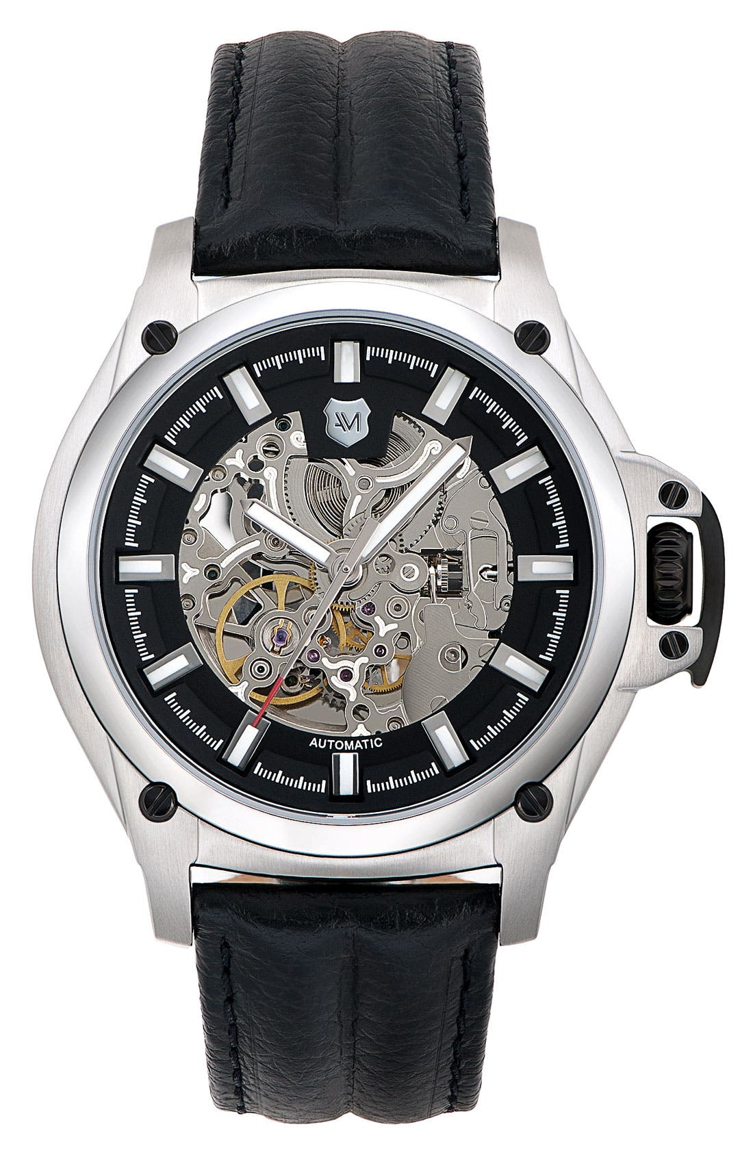 ANDREW MARC, Watches 'G-III Pro' Automatic Leather Strap Watch, Main thumbnail 1, color, 001