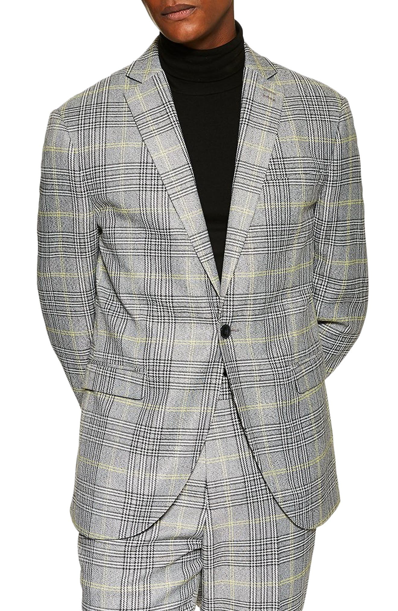 TOPMAN, Single Breasted Check Slim Suit Jacket, Main thumbnail 1, color, GREY