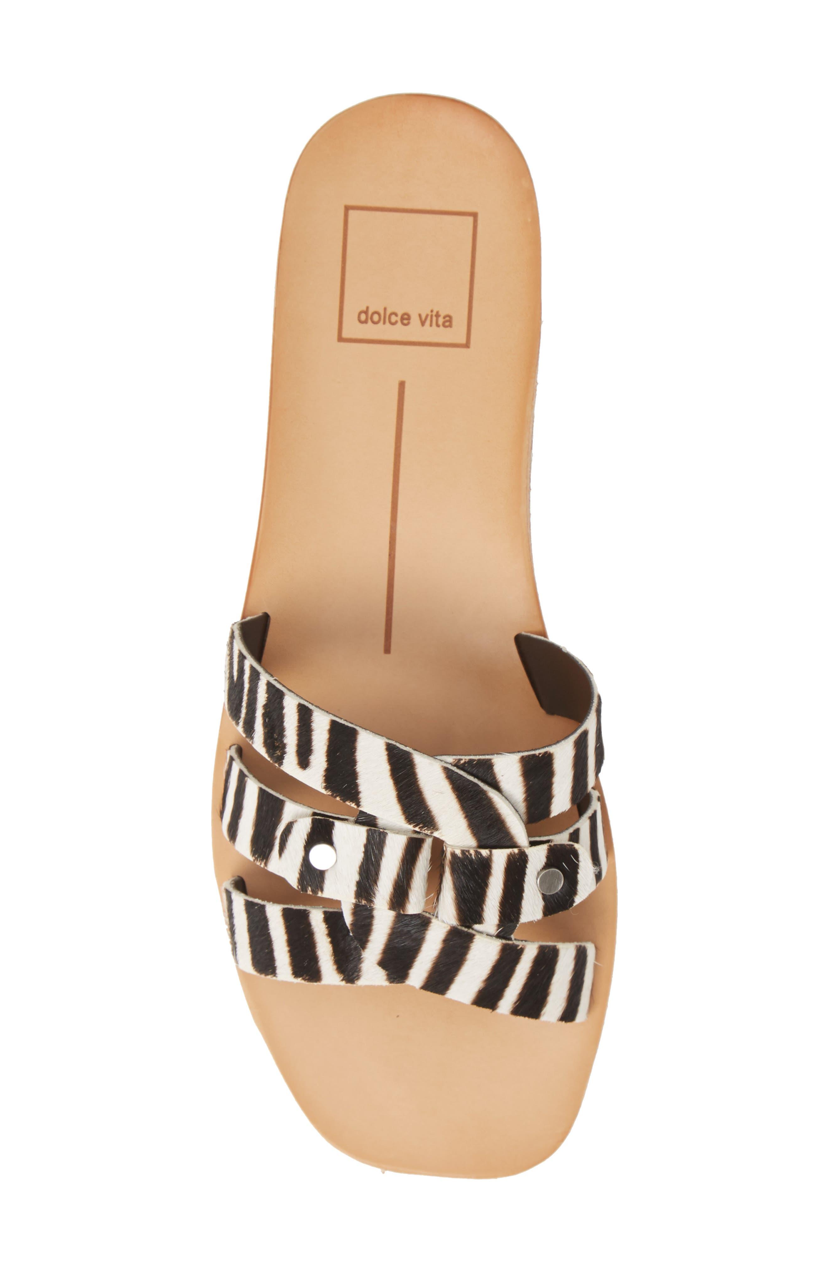 DOLCE VITA, Cait Genuine Calf Hair Slide Sandal, Alternate thumbnail 5, color, ZEBRA PRINT