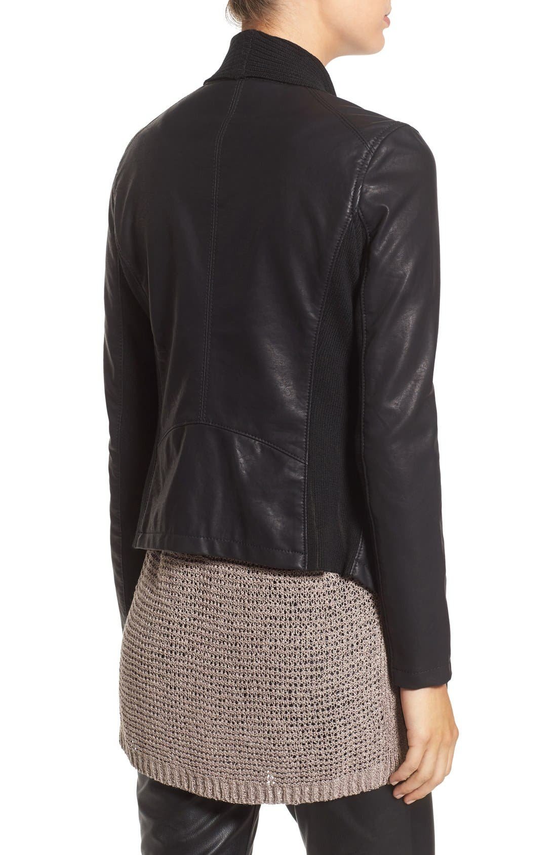 BLANKNYC, All or Nothing Faux Leather Jacket, Alternate thumbnail 3, color, 001