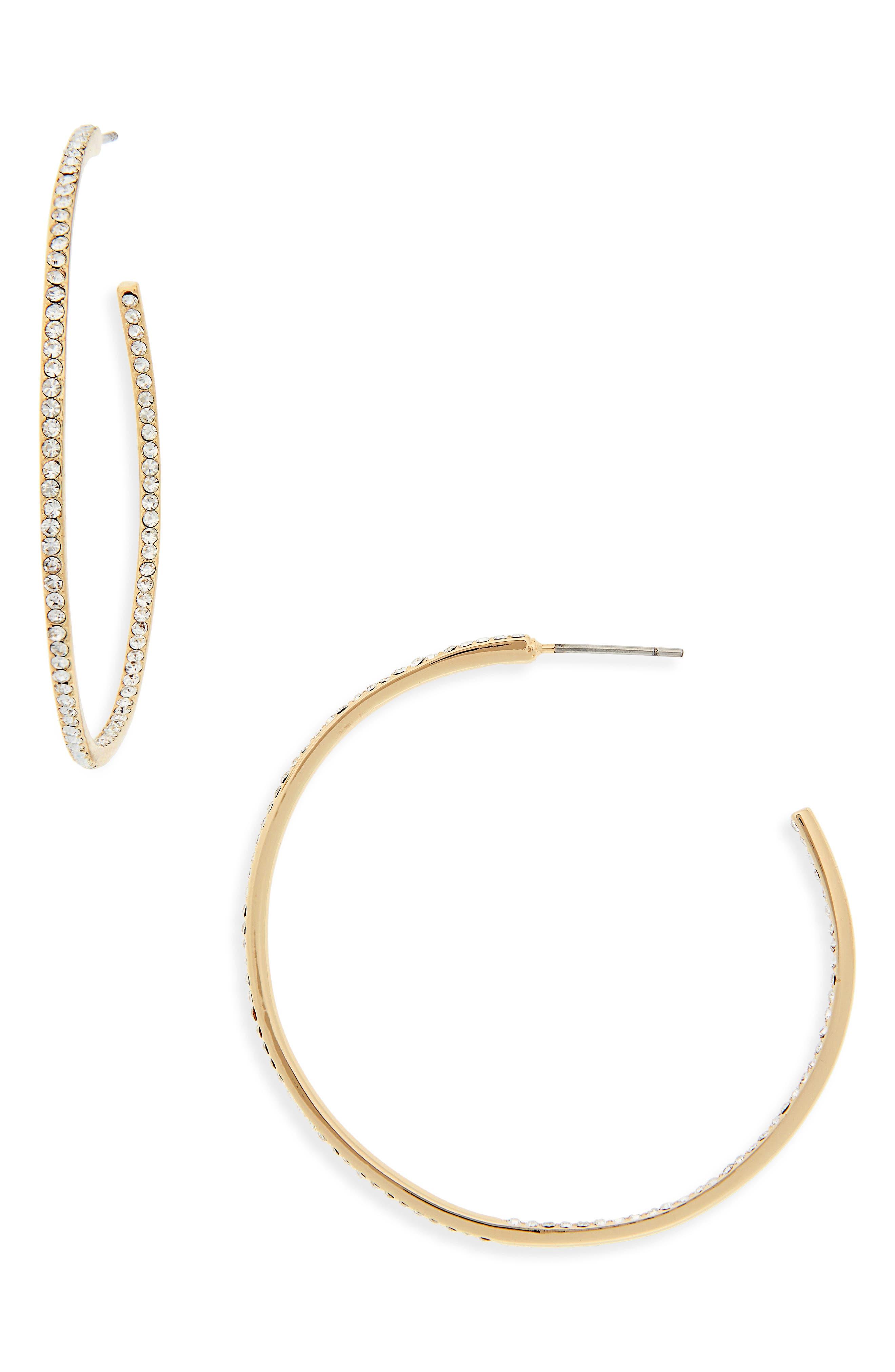 NORDSTROM, Medium Seamless Pavé Hoop Earrings, Main thumbnail 1, color, CLEAR- GOLD