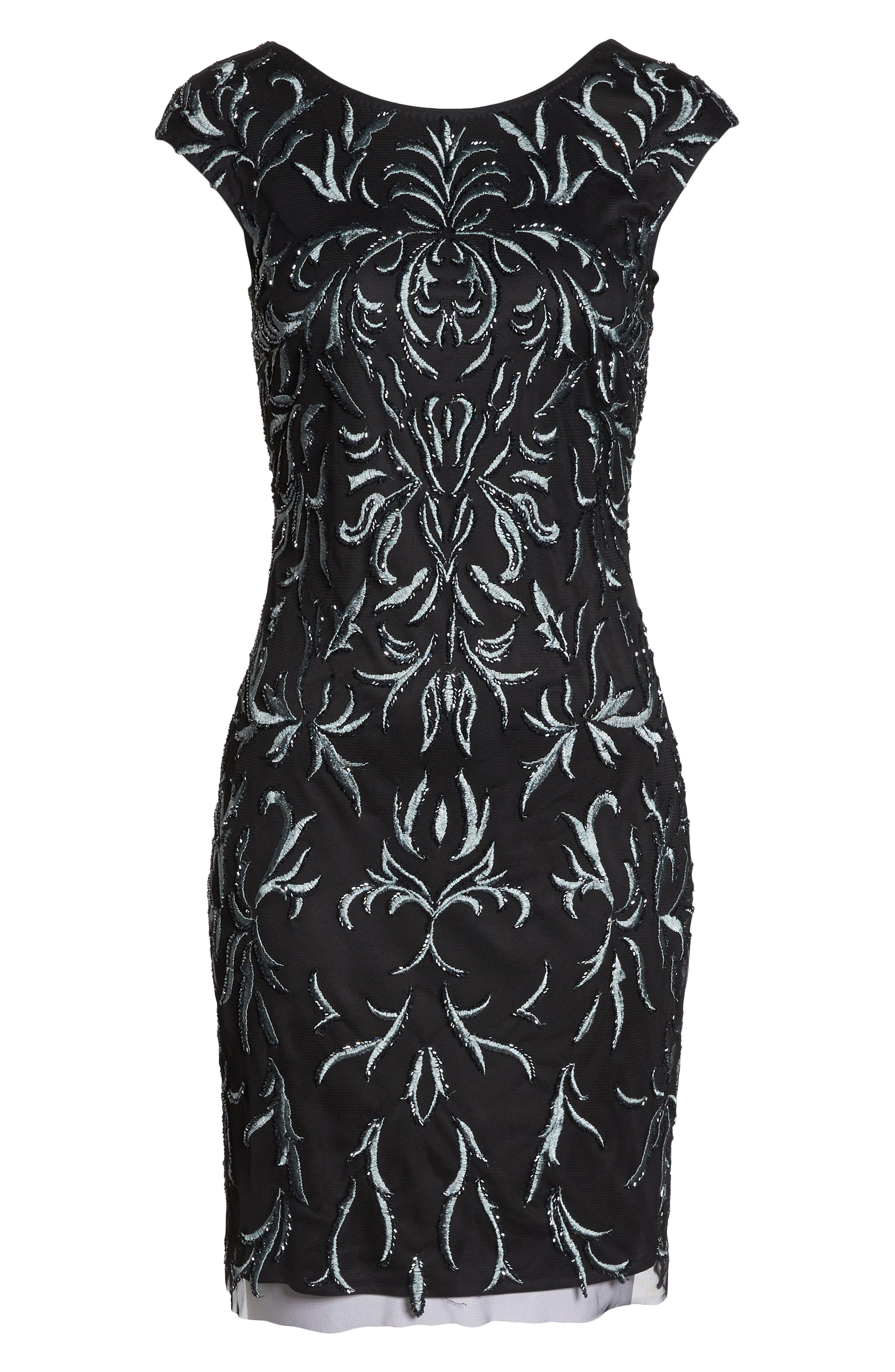 PISARRO NIGHTS, Beaded & Embroidered Cocktail Dress, Alternate thumbnail 7, color, 001