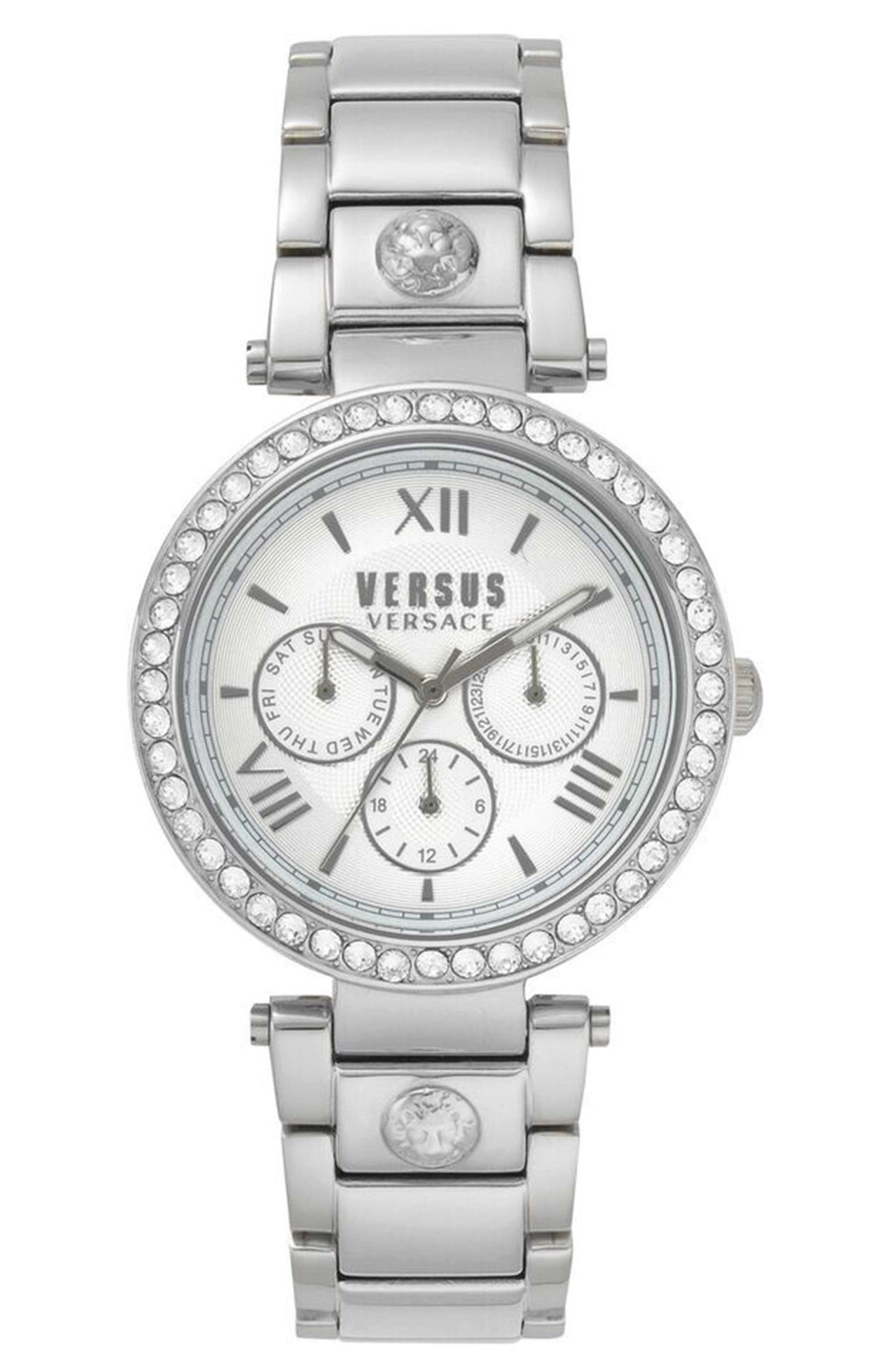 VERSUS VERSACE Camden Market Multifunction Bracelet Watch, 38mm, Main, color, SILVER