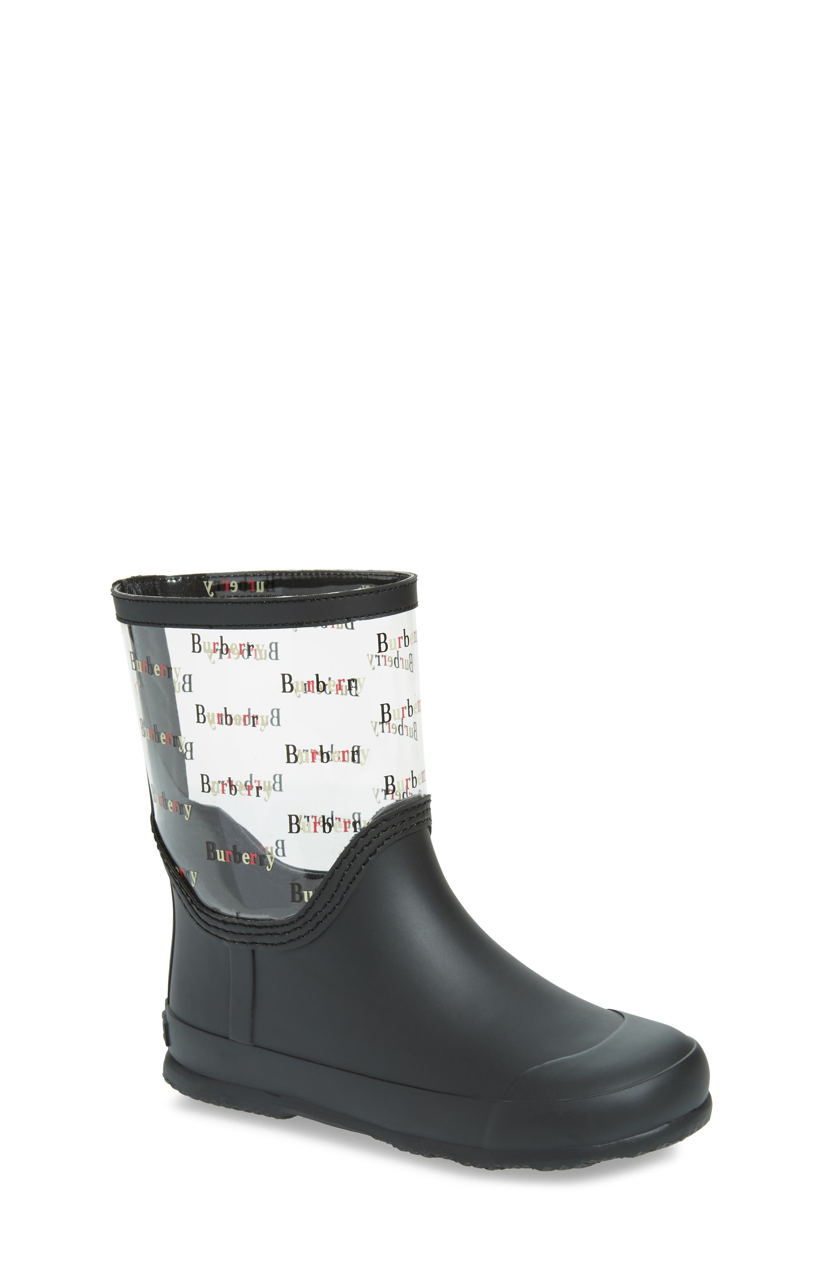 BURBERRY, Frosty Waterproof Rain Boot, Main thumbnail 1, color, BLACK