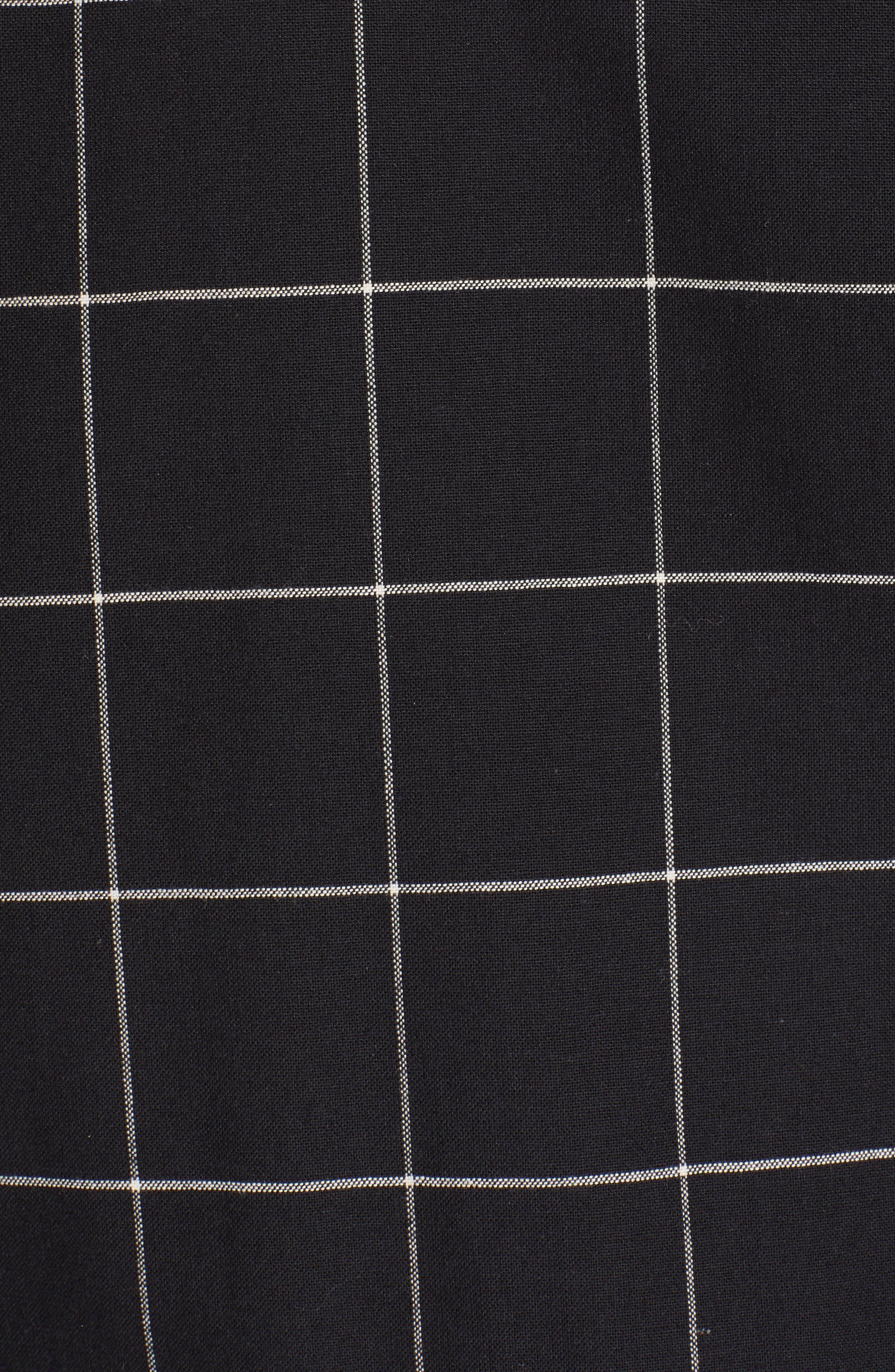 PS PAUL SMITH, Grid Wool Blend Bomber Jacket, Alternate thumbnail 6, color, BLACK