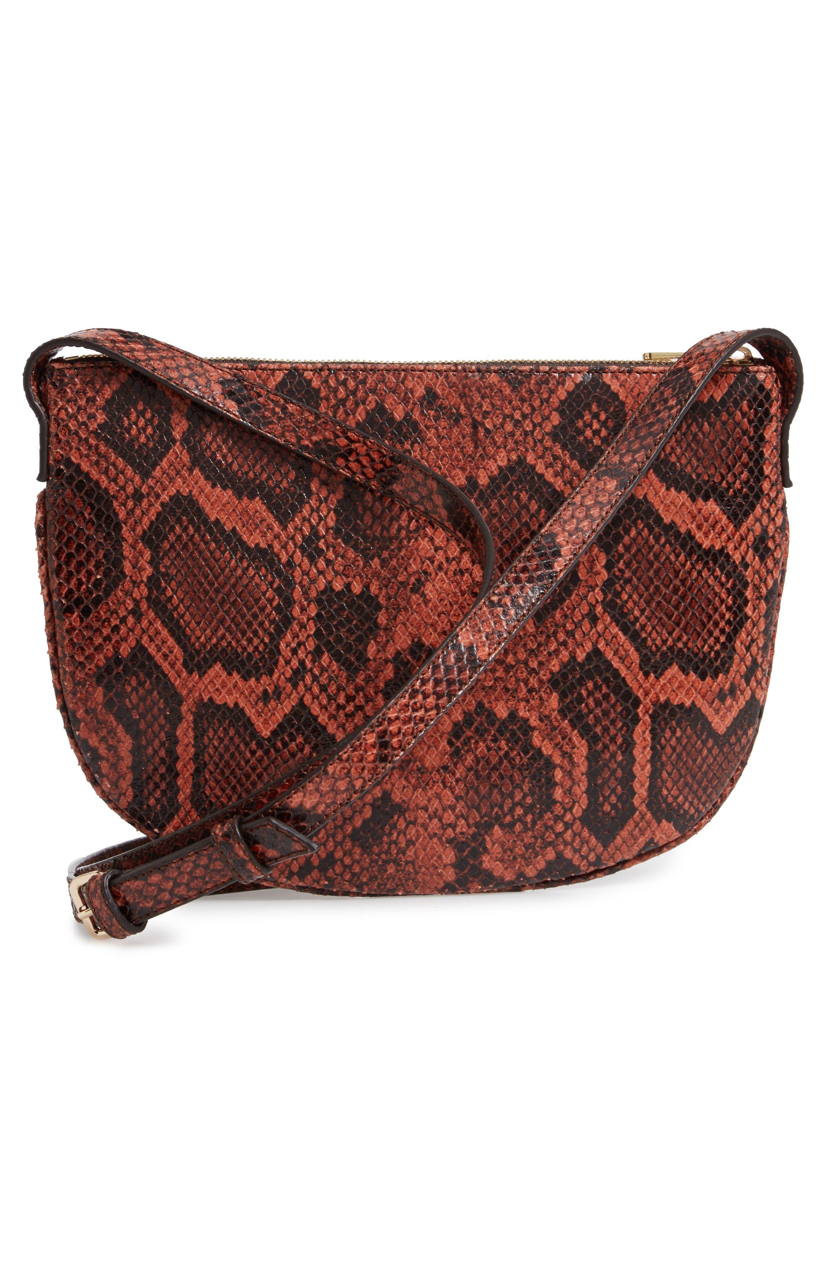 A.P.C., Sac Maelys Python Embossed Leather Crossbody Bag, Alternate thumbnail 4, color, EAF BRIQUE