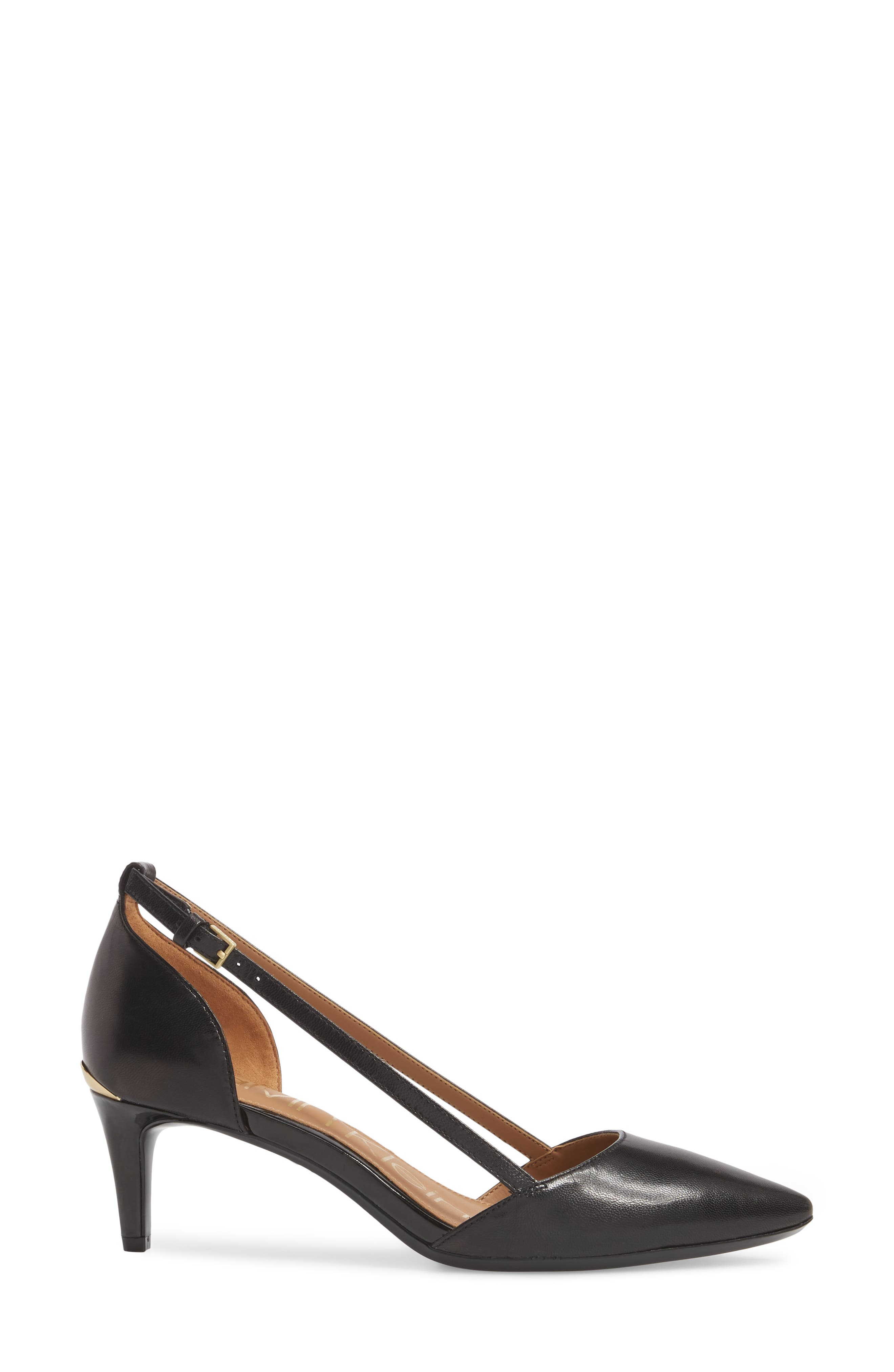 CALVIN KLEIN, Pashka Strappy Open Sided Pump, Alternate thumbnail 3, color, 001