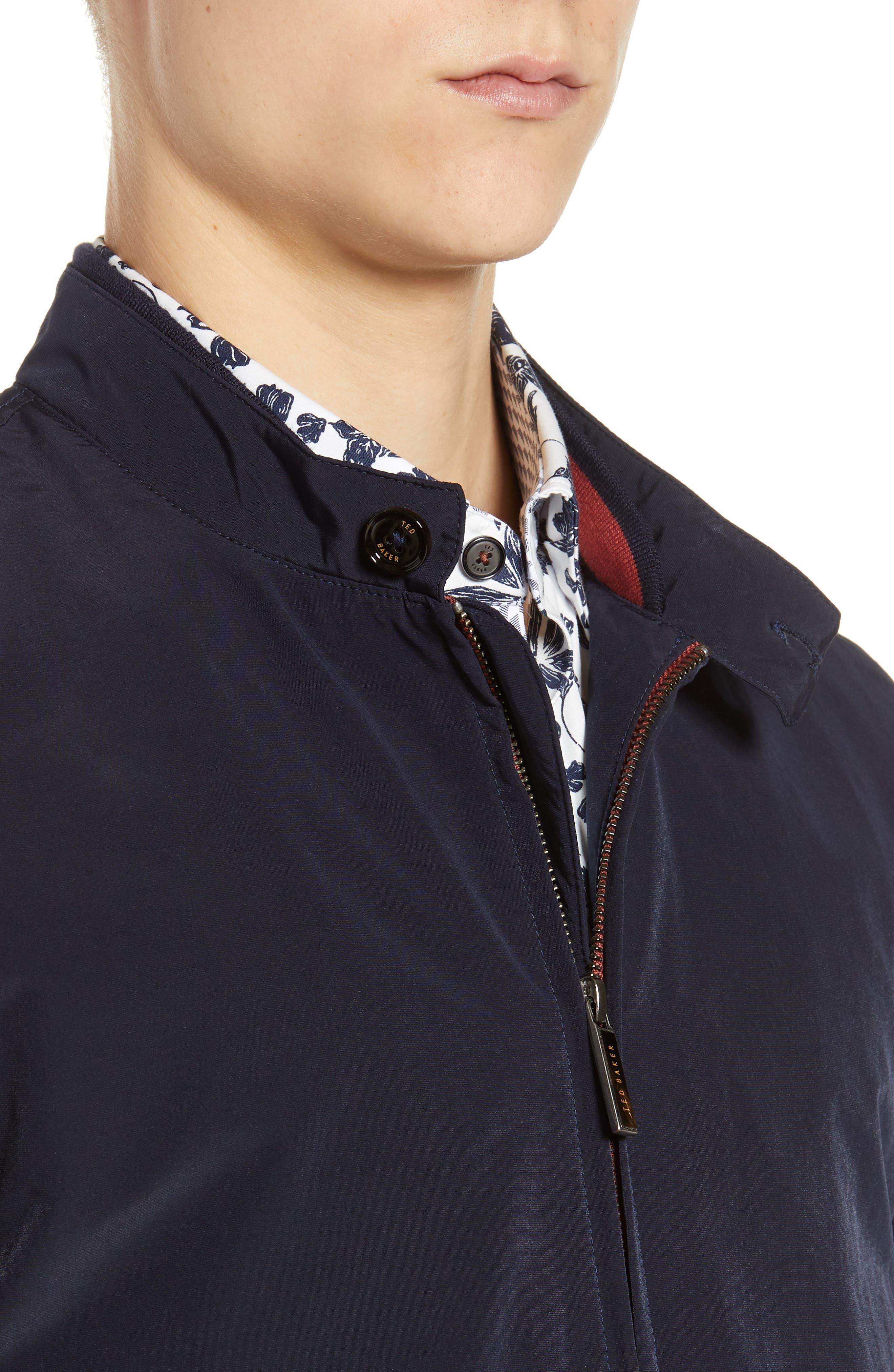 TED BAKER LONDON, Aroma Slim Fit Bomber Jacket, Alternate thumbnail 5, color, NAVY