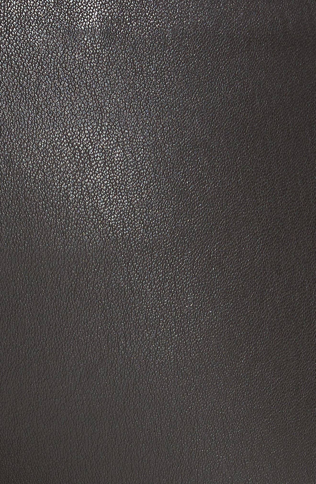 HELMUT LANG, Stretch Lambskin Leather Leggings, Alternate thumbnail 6, color, BLACK