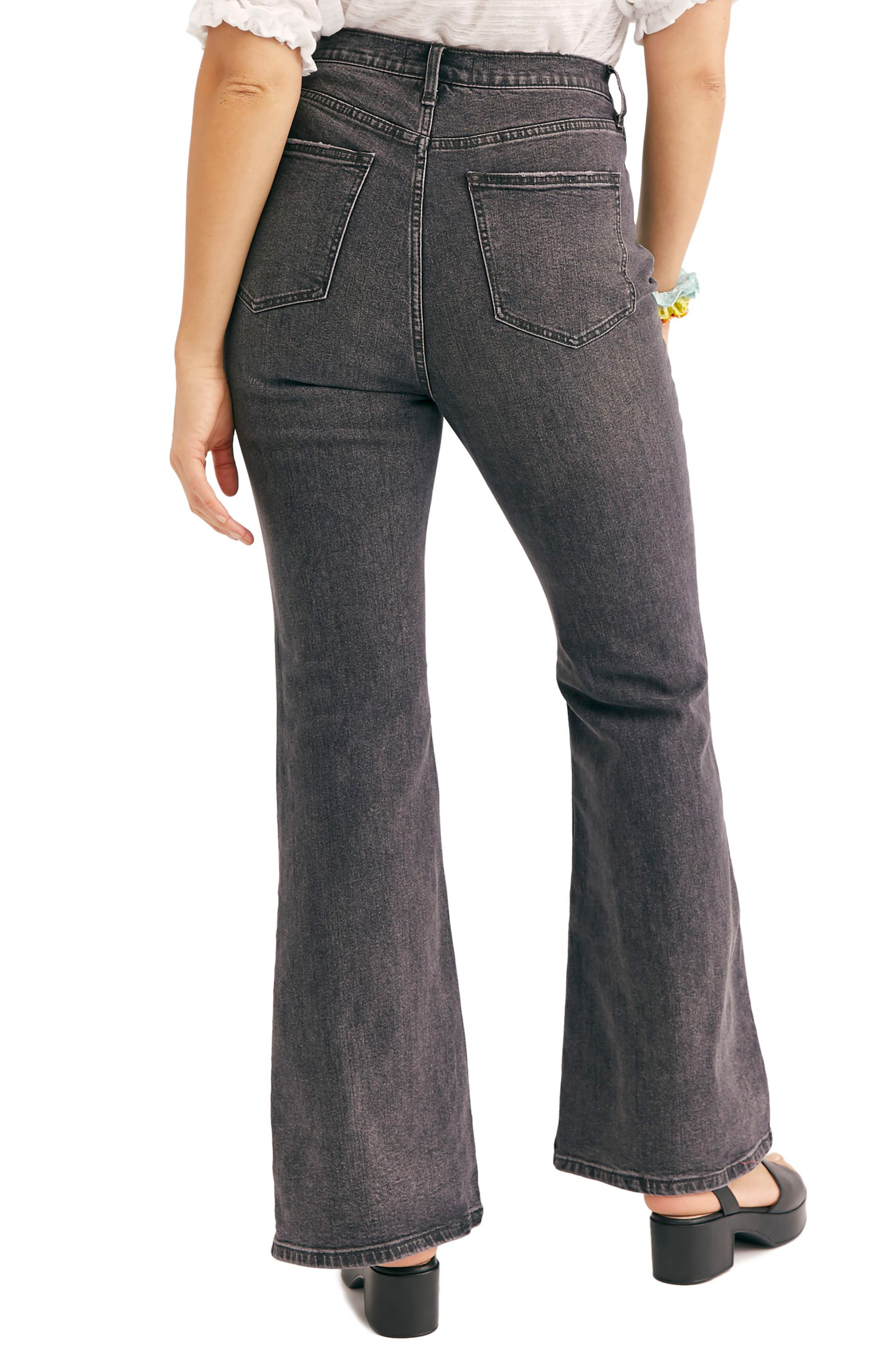 FREE PEOPLE, CRVY by Free People Robin High Waist Flare Jeans, Alternate thumbnail 2, color, BLACK