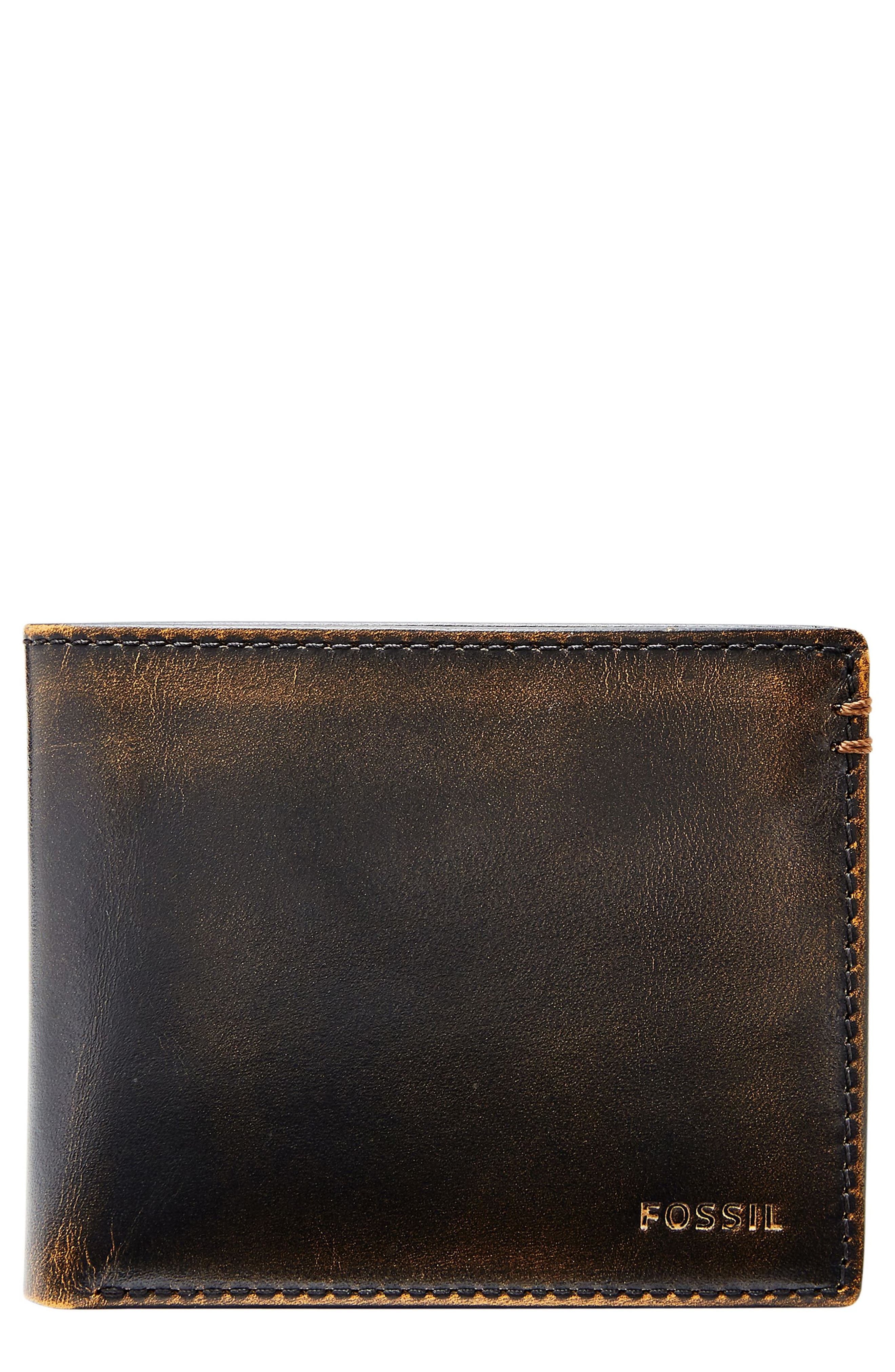FOSSIL Wade Leather Wallet, Main, color, BLACK
