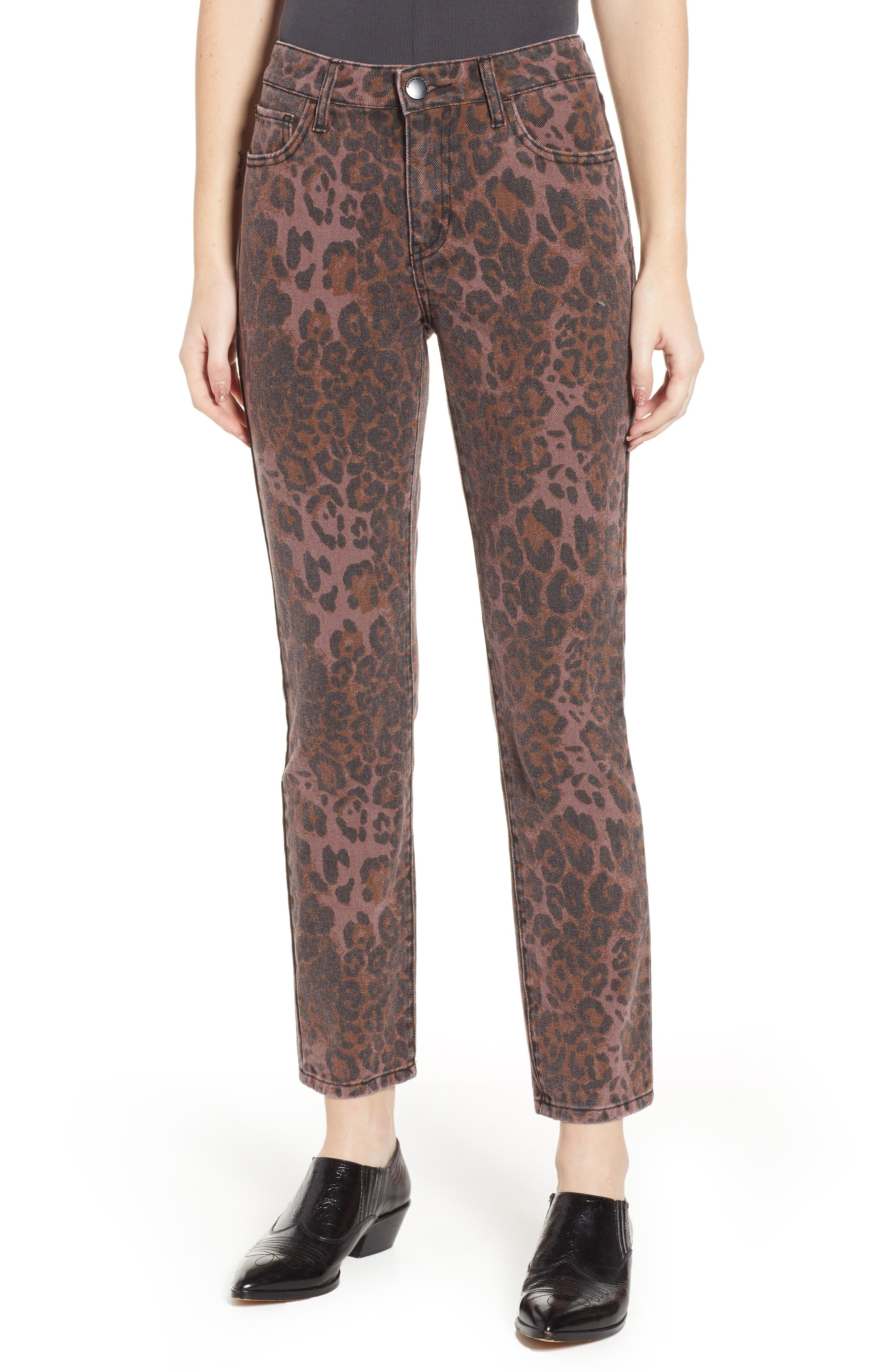 PROSPERITY DENIM Leopard Print Skinny Jeans, Main, color, LEOPARD