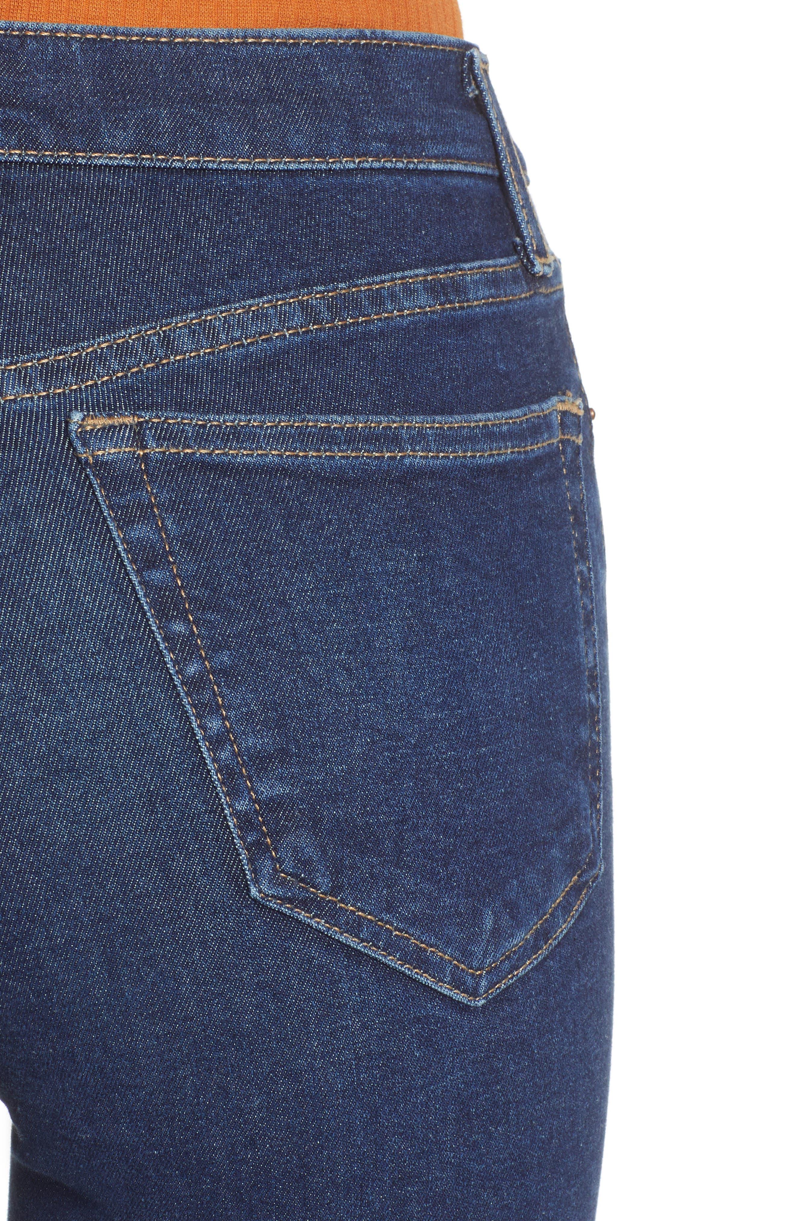 TOPSHOP, MOTO Jamie High Waist Skinny Jeans, Alternate thumbnail 5, color, INDIGO