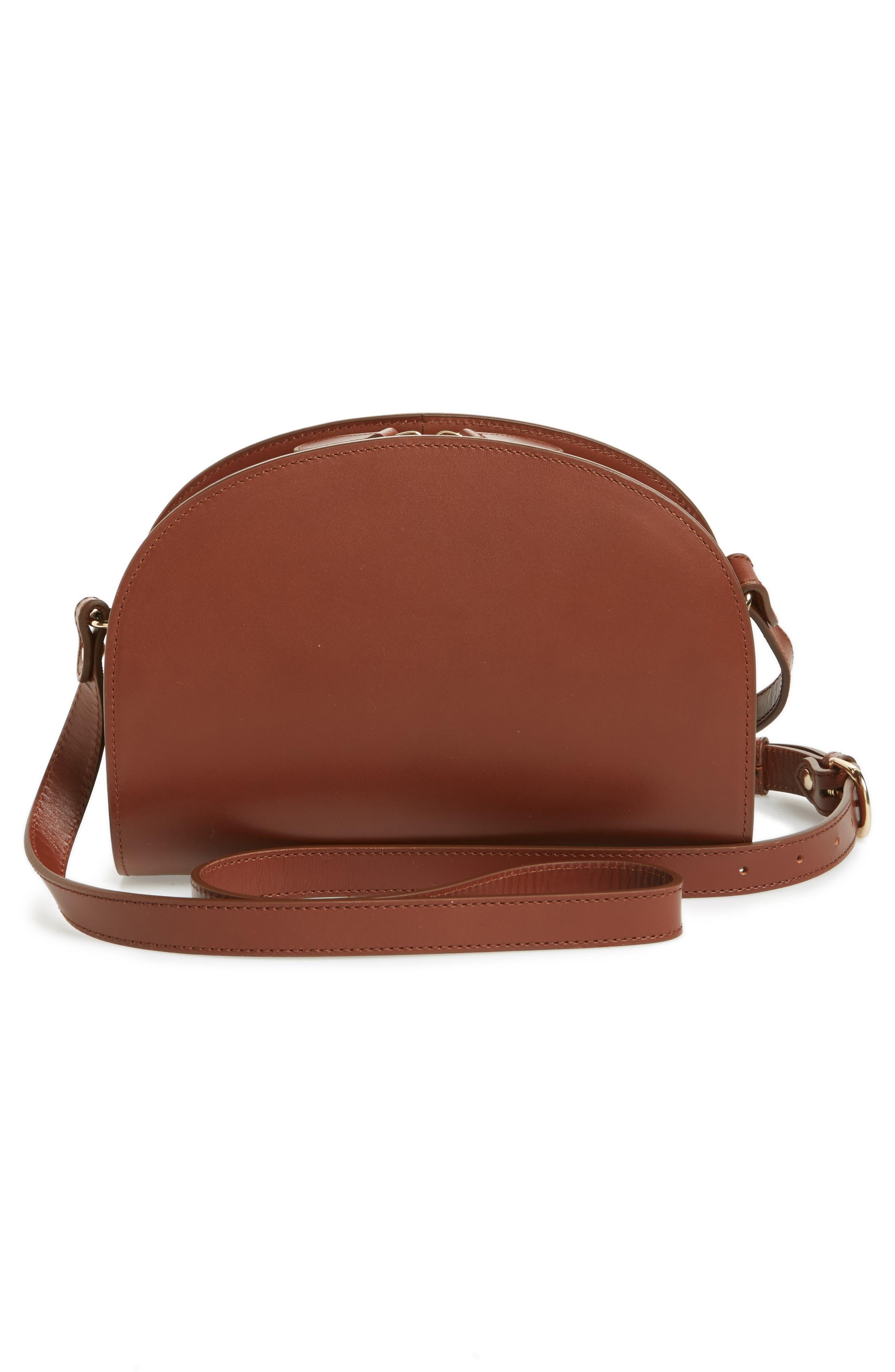 A.P.C., 'Sac Demi Lune' Leather Crossbody Bag, Alternate thumbnail 4, color, NOISETTE