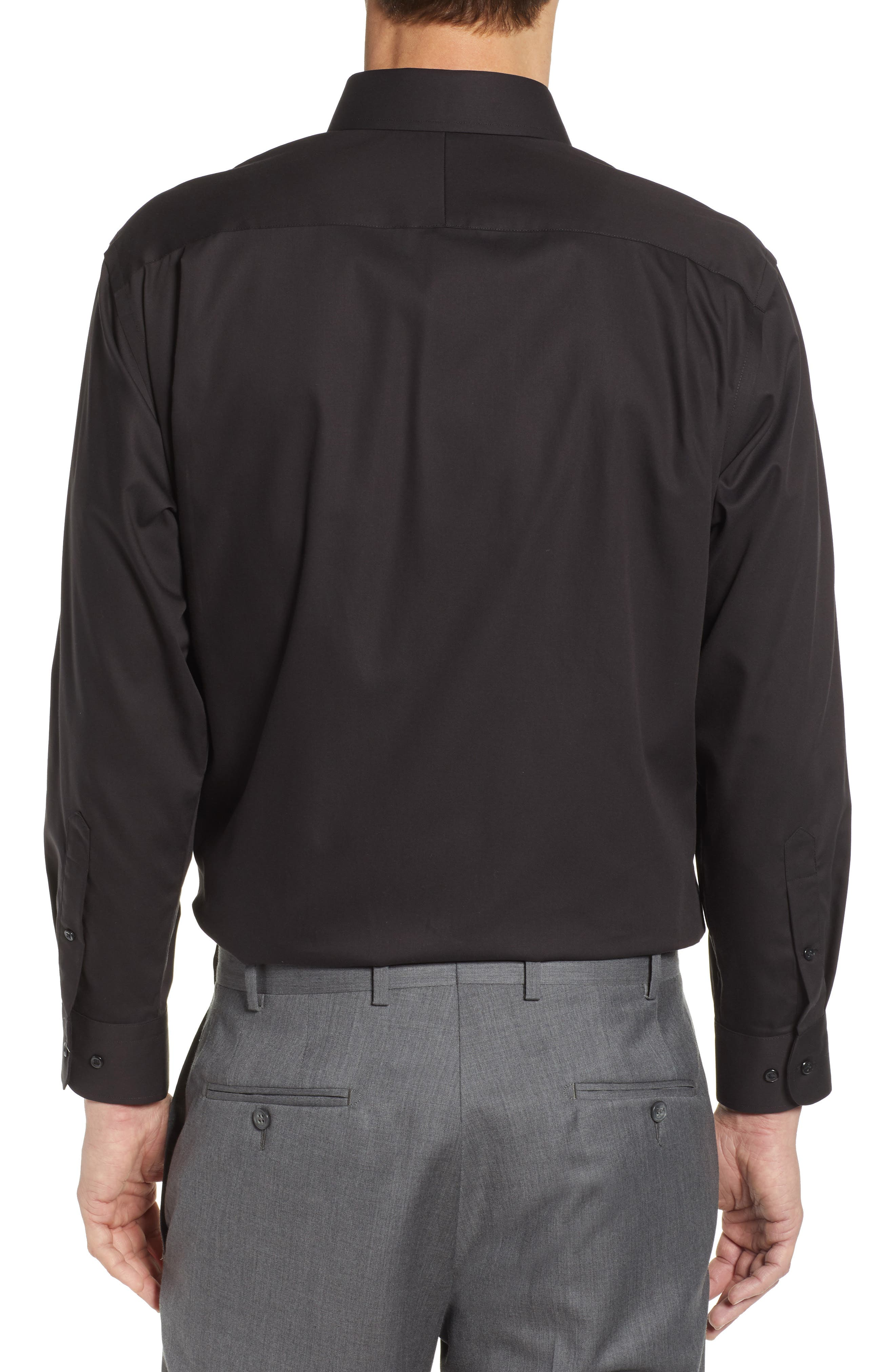 NORDSTROM MEN'S SHOP, Classic Fit Non-Iron Dress Shirt, Alternate thumbnail 3, color, BLACK