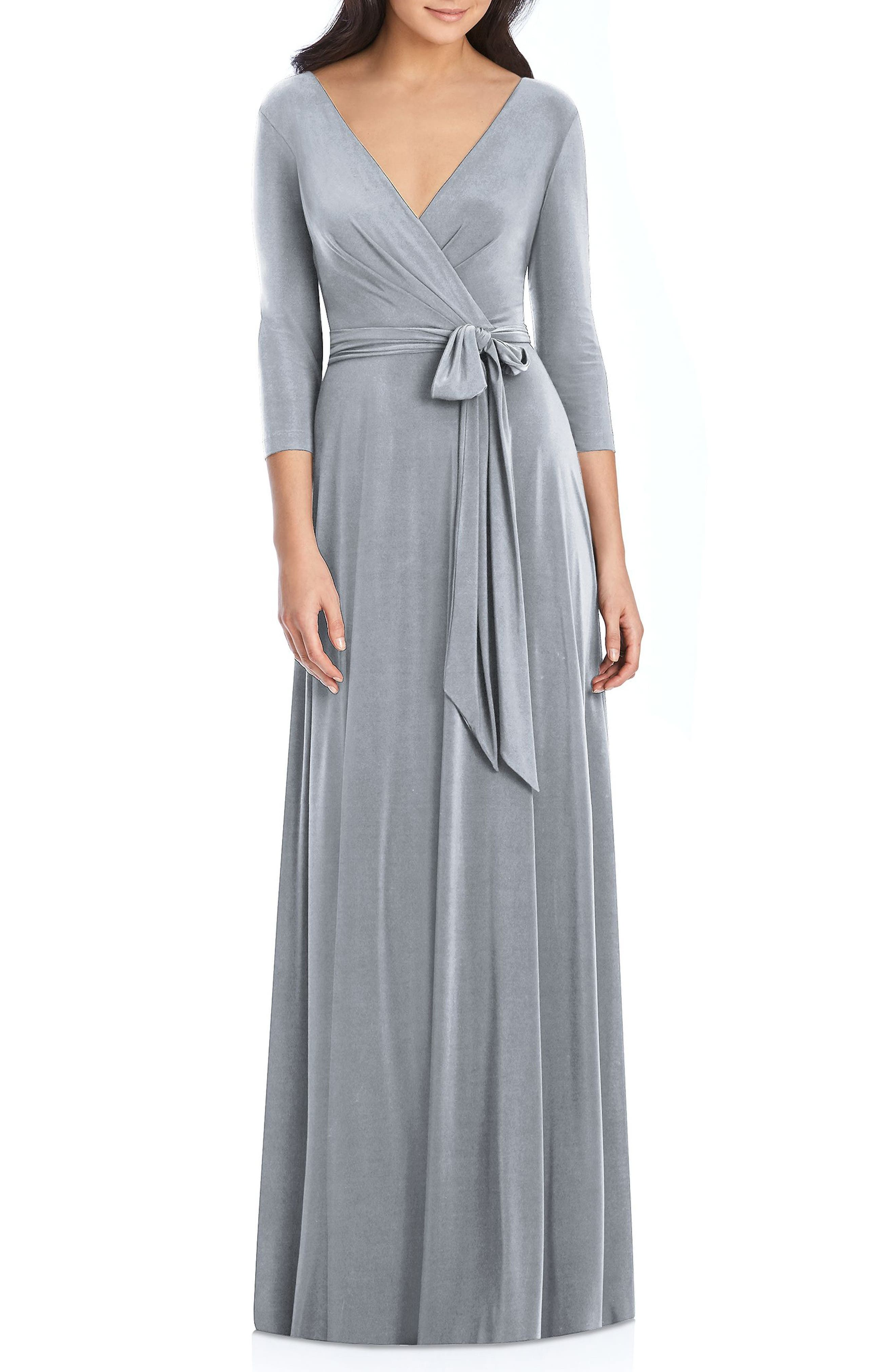 DESSY COLLECTION, Jersey Tie Waist Gown, Main thumbnail 1, color, PLATINUM