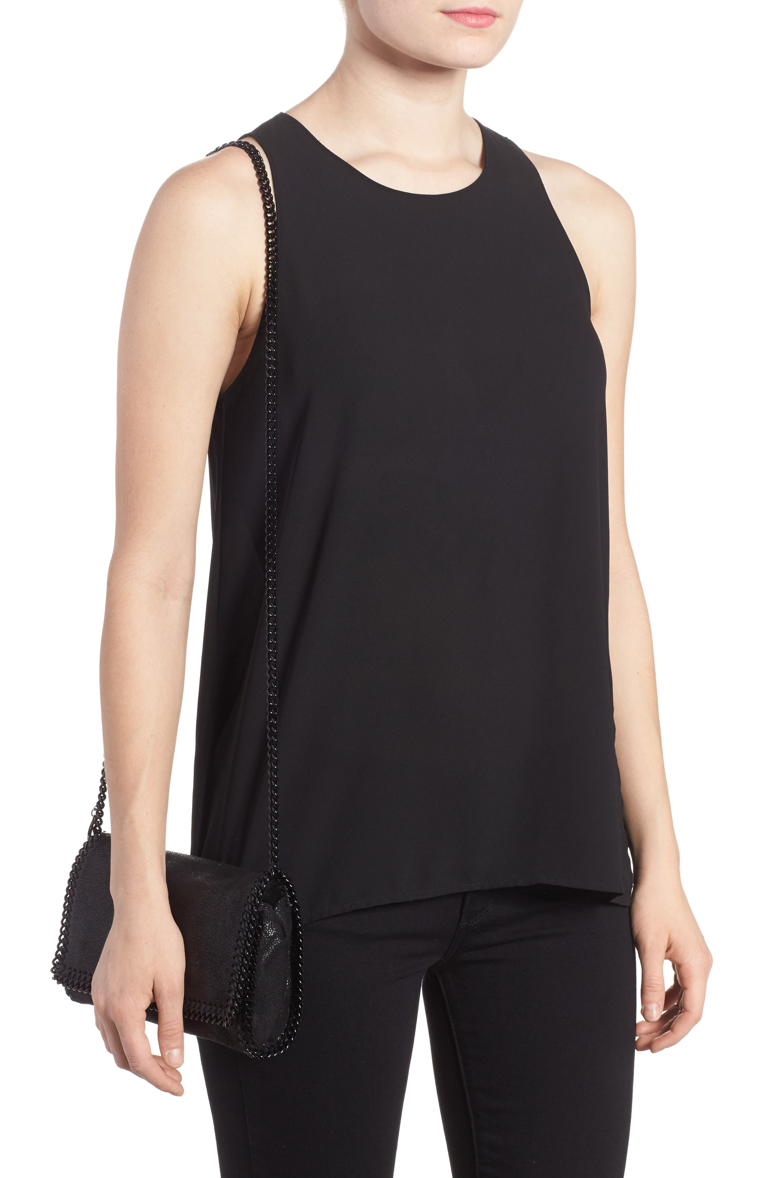 STELLA MCCARTNEY, Falabella Shaggy Deer Faux Leather Clutch, Alternate thumbnail 2, color, BLACK OUT