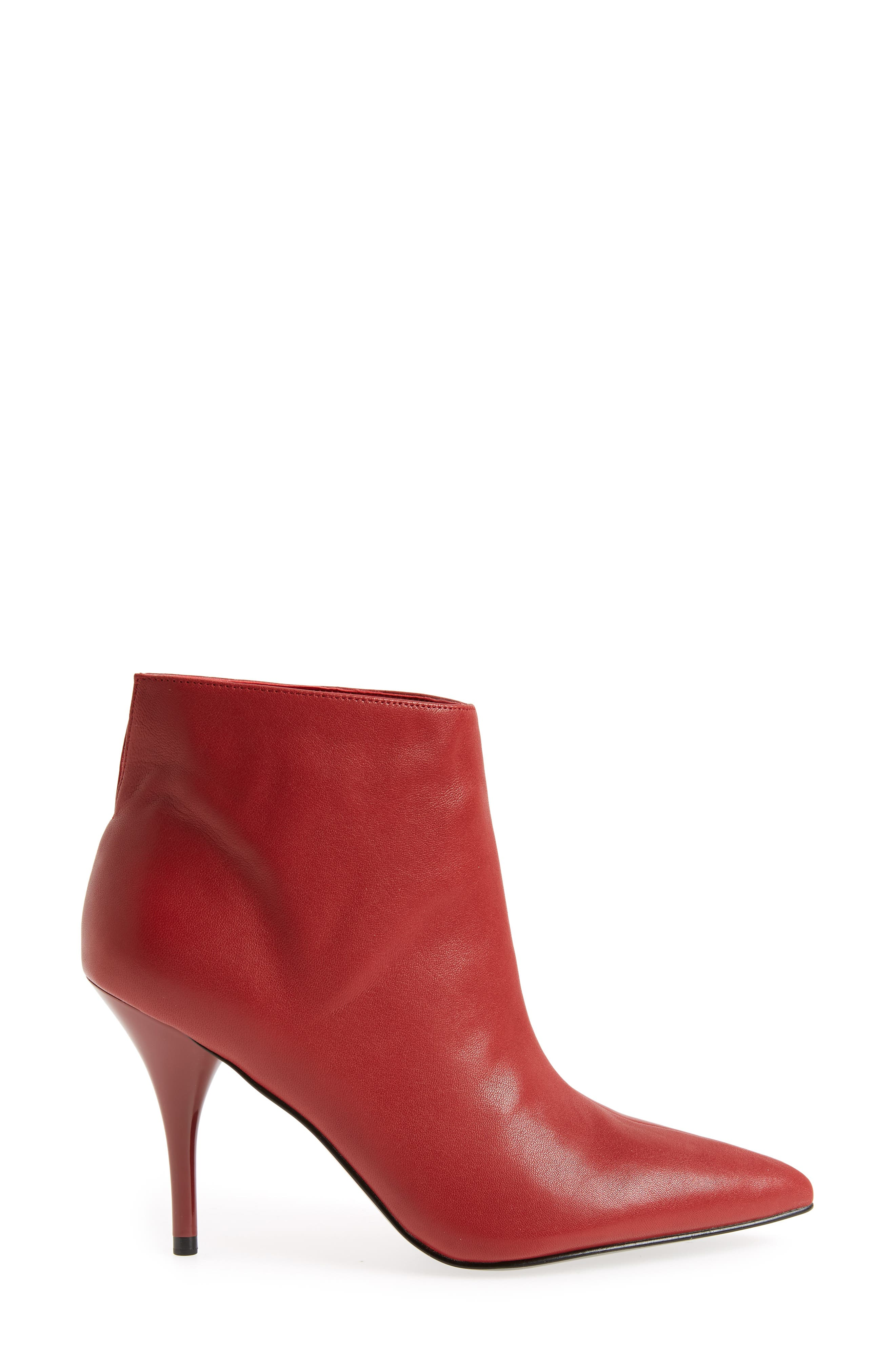 MARC FISHER LTD, Fenet Pointy Toe Bootie, Alternate thumbnail 3, color, RED LEATHER