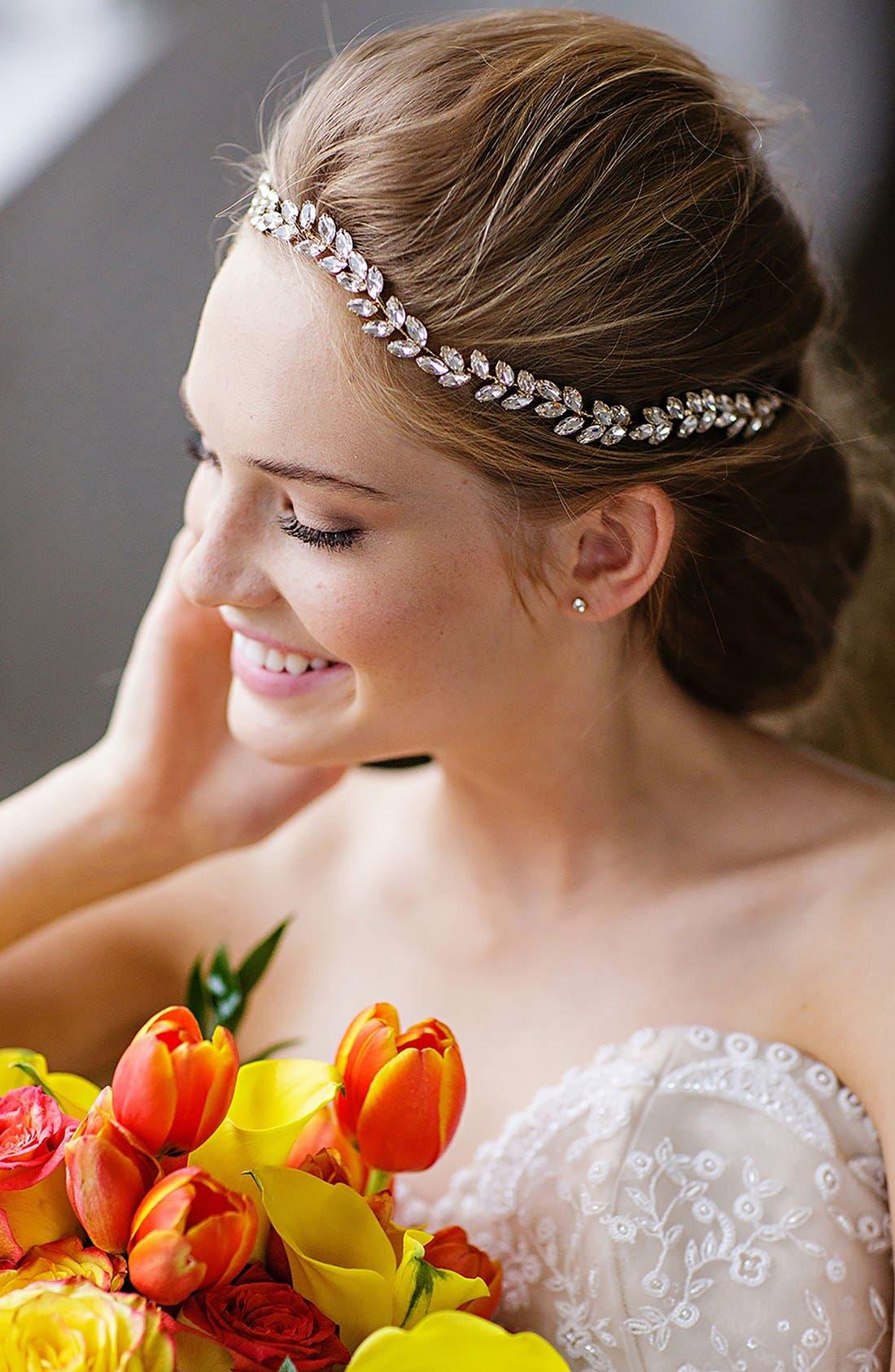 BRIDES & HAIRPINS Alegra Crystal Leaf Halo & Sash, Main, color, ANTIQUE