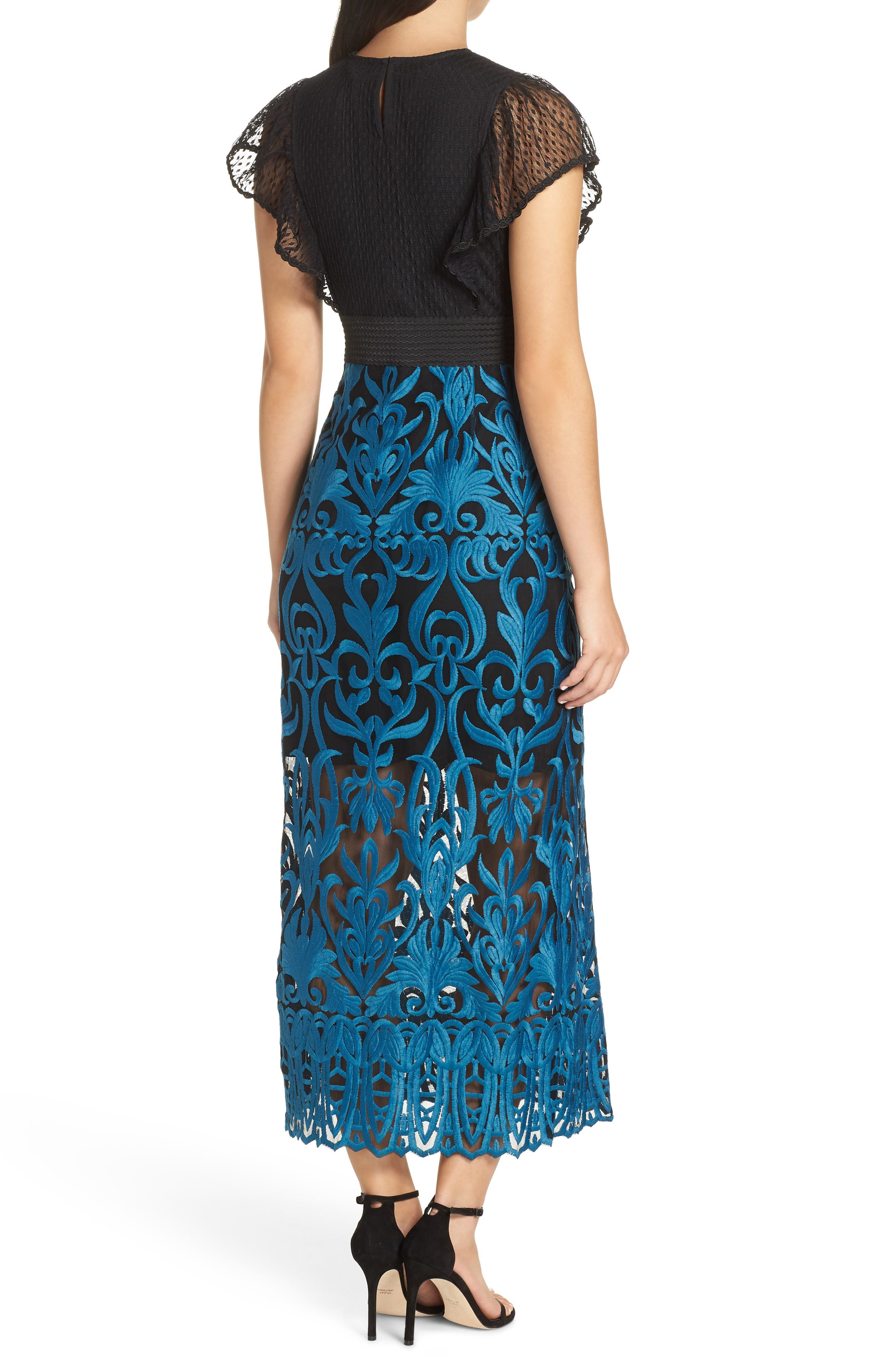 FOXIEDOX, Rosalynn Lace Midi Dress, Alternate thumbnail 2, color, 440