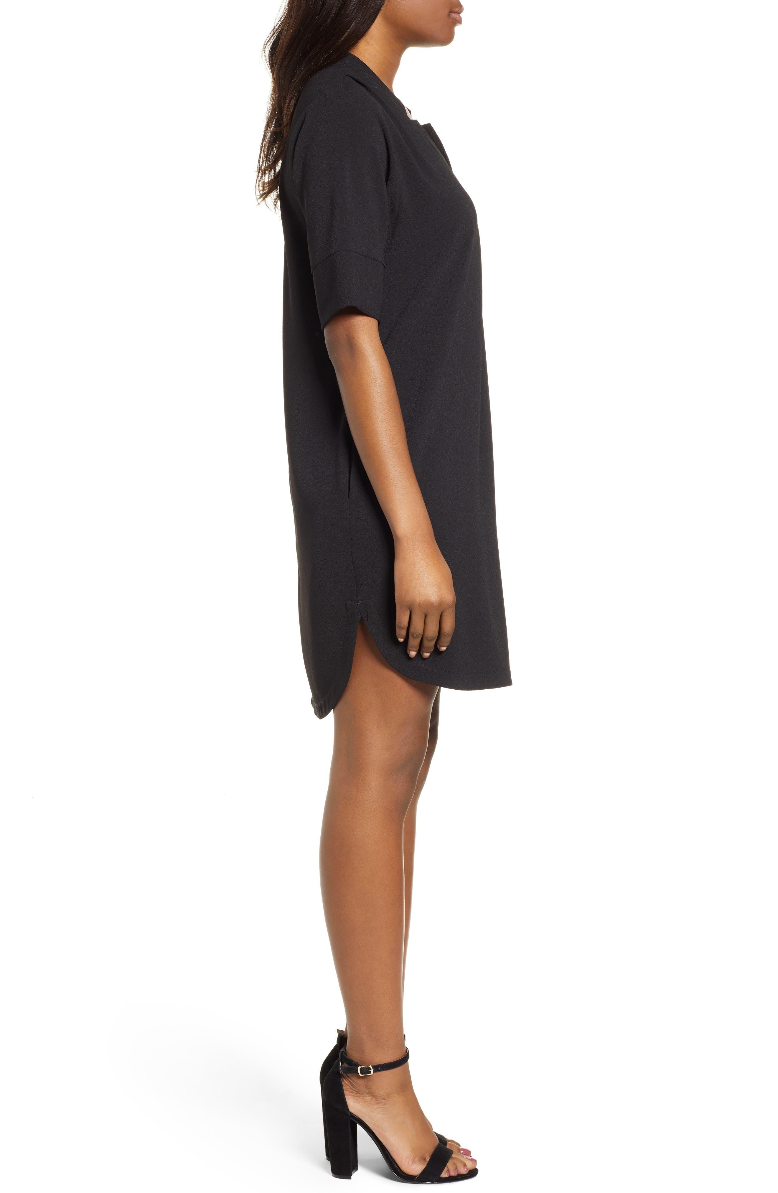 BOBEAU, Pleat Front Curved Hem Shirtdress, Alternate thumbnail 4, color, BLACK