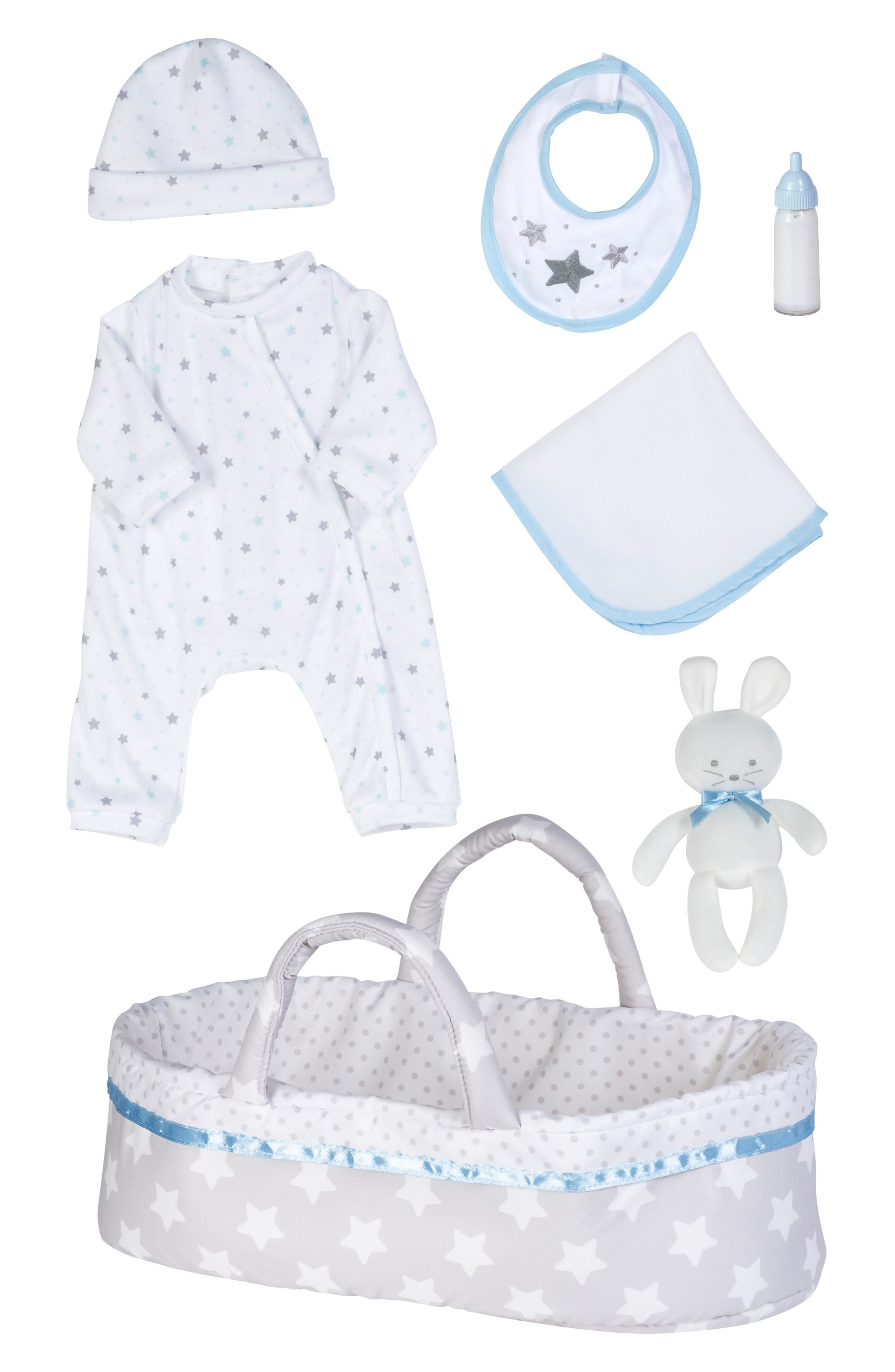 ADORA, Adoption 8-Piece Take Me Home Baby Doll Essentials Set, Main thumbnail 1, color, WHITE AND BLUE